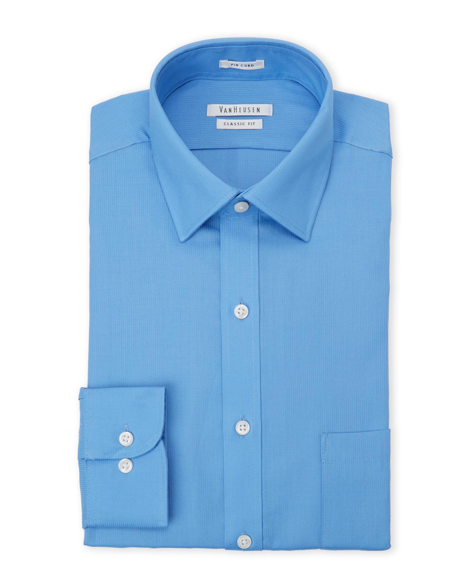Van heusen blue pincord regular fit dress shirt in blue for Van heusen men s regular fit pincord dress shirt
