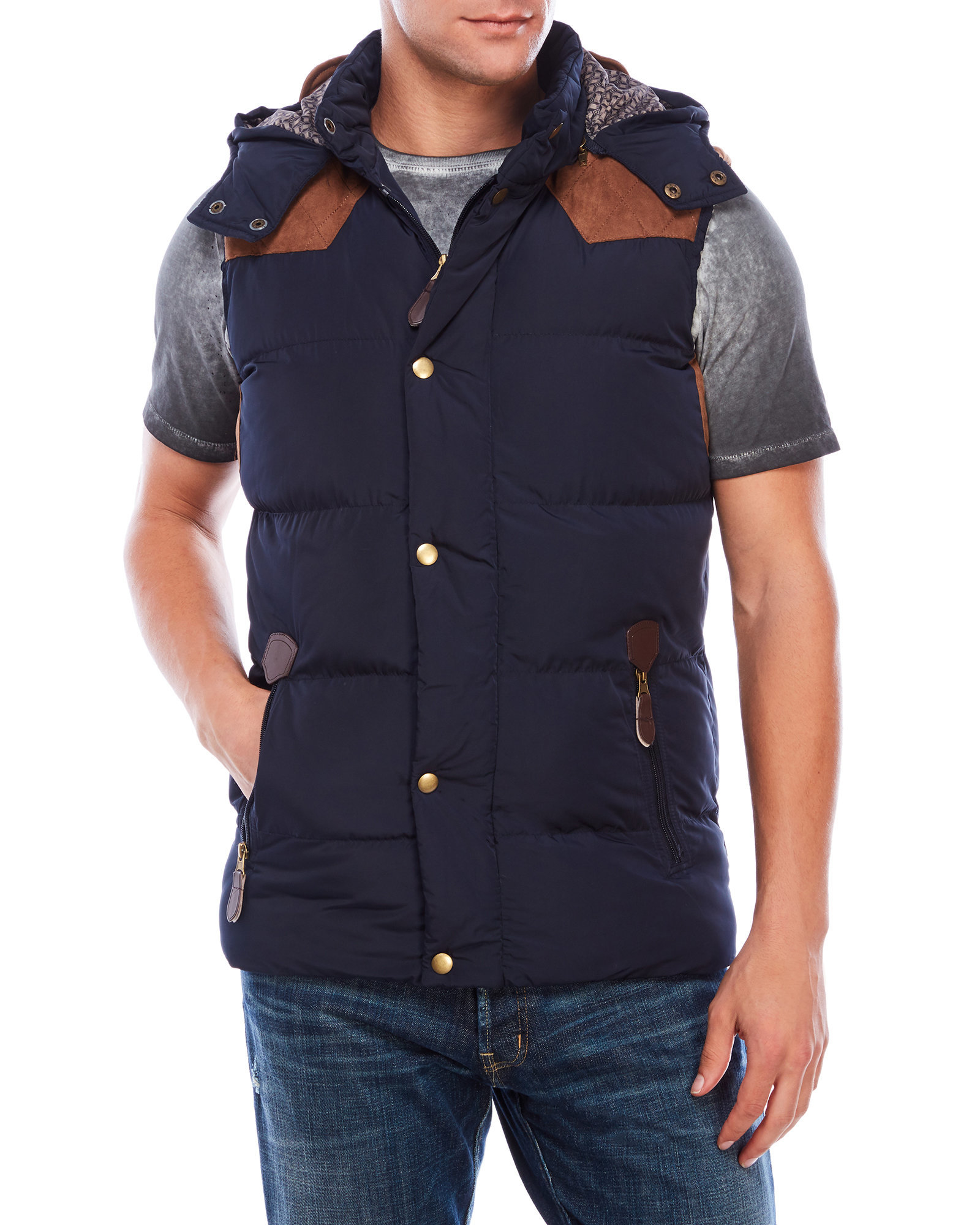 Lyst American Stitch Navy Hooded Puffer Vest In Blue For Men