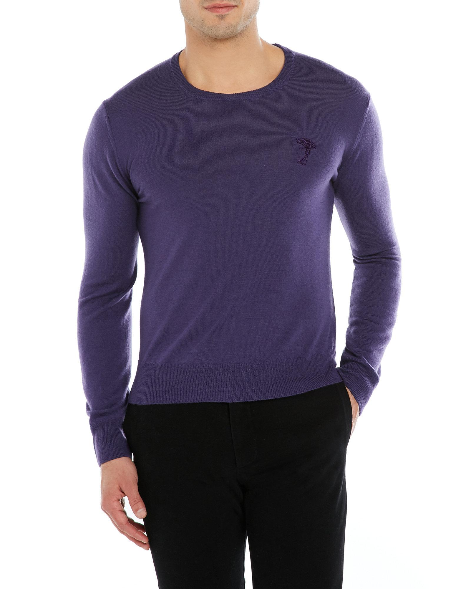 Versace Medusa Crew Neck Wool Sweater in Purple for Men | Lyst