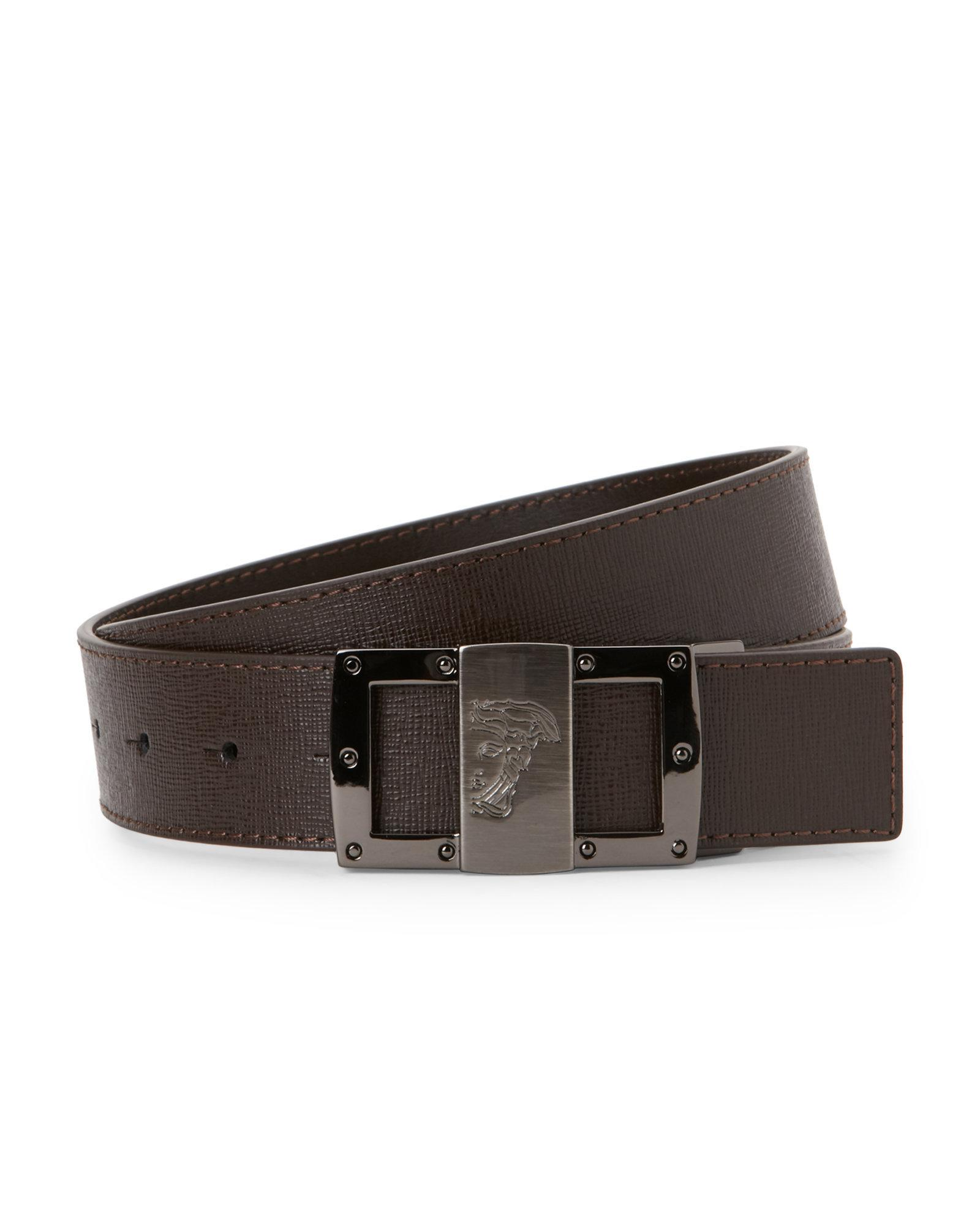 versace brown textured leather belt in brown for lyst