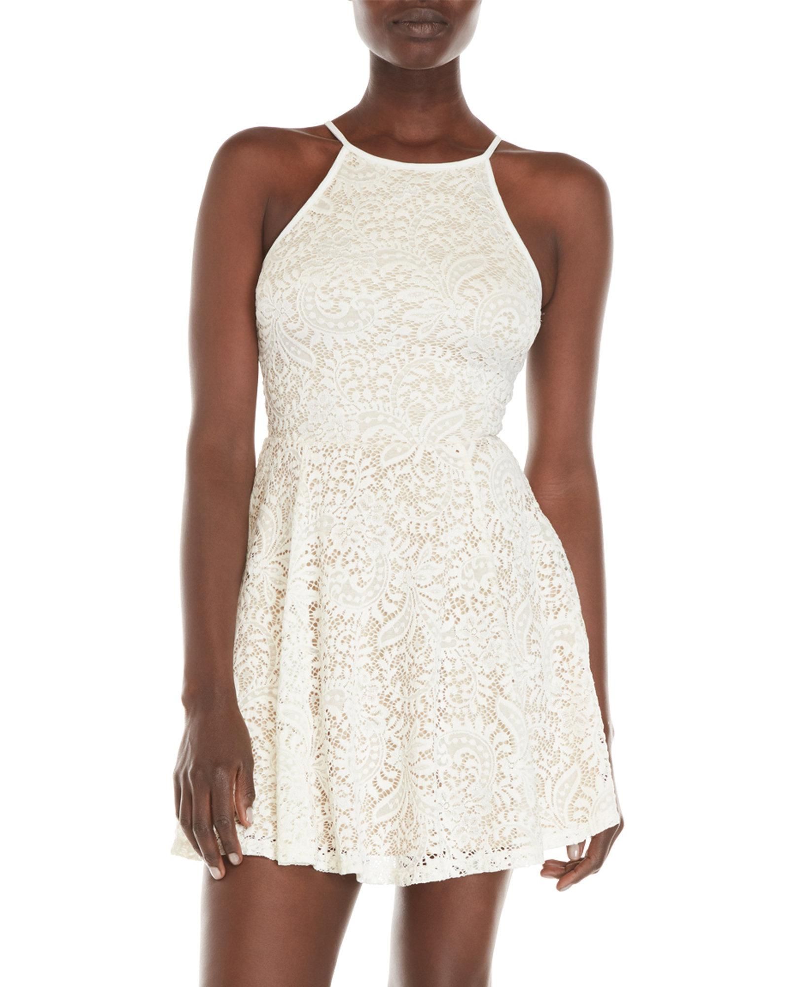 88ff9eb13 Lyst - Emerald Sundae Sleeveless Lace Fit & Flare Dress in White