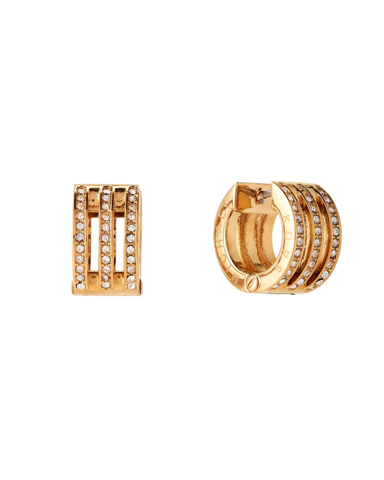 cb4782df4243b0 Michael Kors Gold-tone Pave Logo Huggie Hoop Earrings in Metallic - Lyst