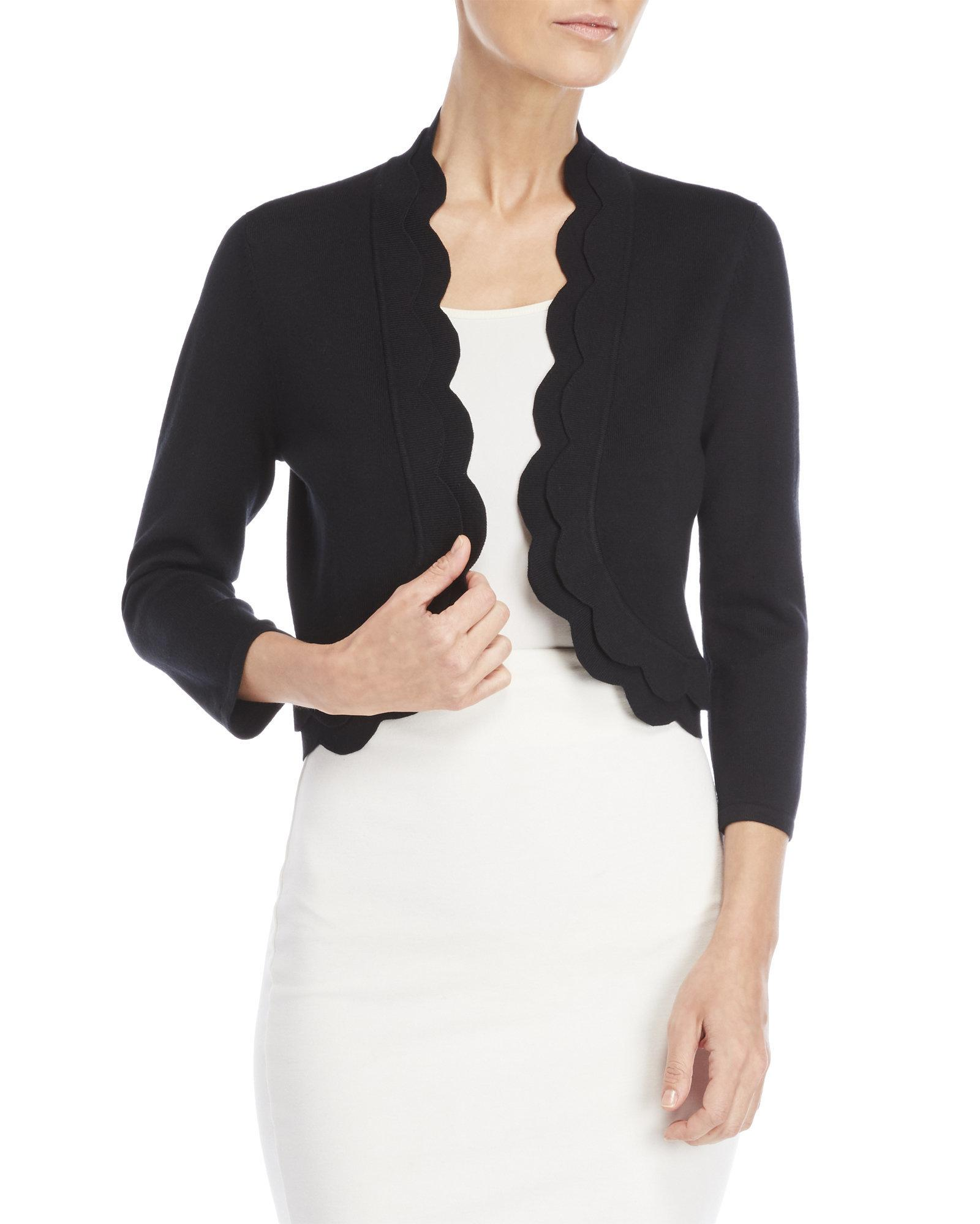 Lyst Cable Gauge Three Quarter Length Scalloped Open Cardigan In