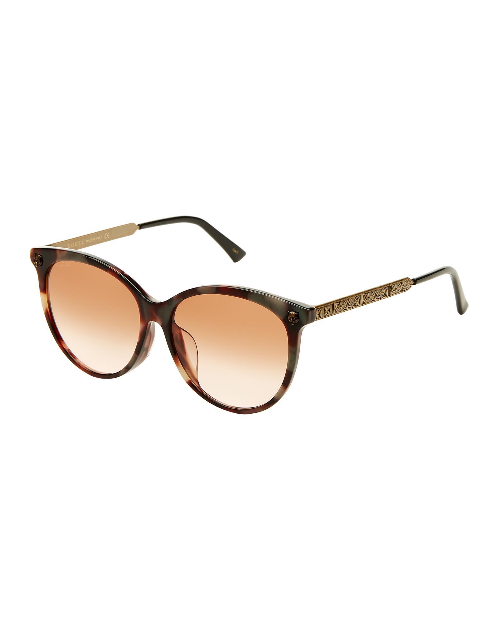cd6e8ca1b760f Gucci - White GG 0223 sk Tortoiseshell-look Round Sunglasses - Lyst. View  fullscreen