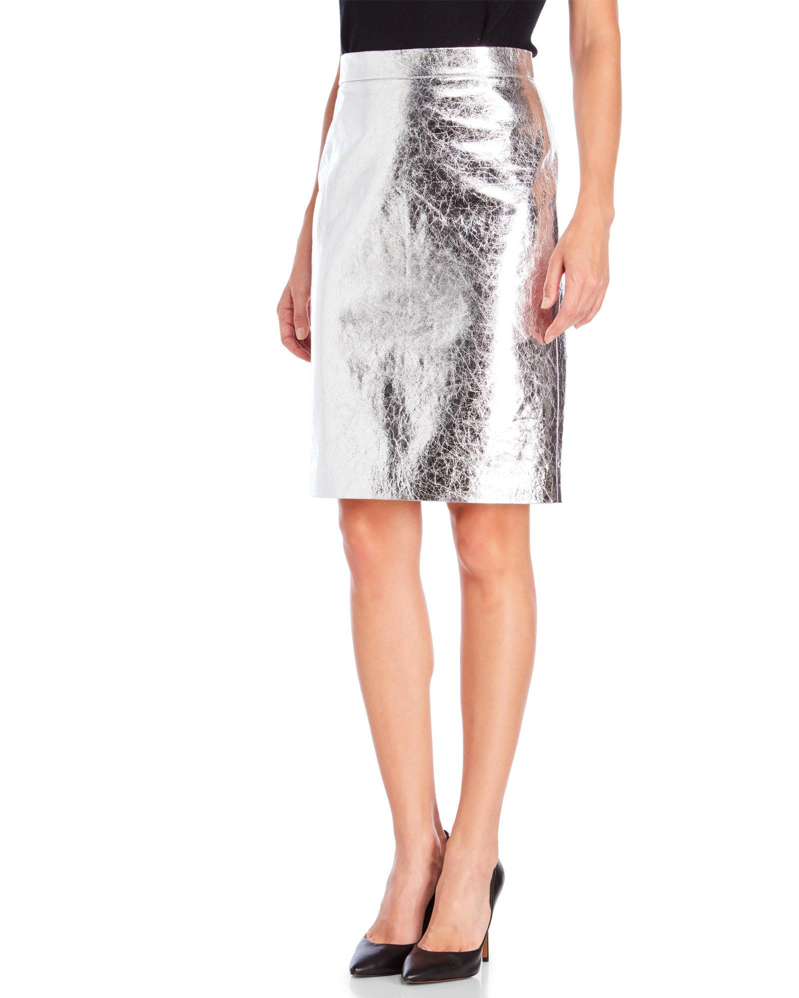 dkny metallic leather pencil skirt in metallic lyst