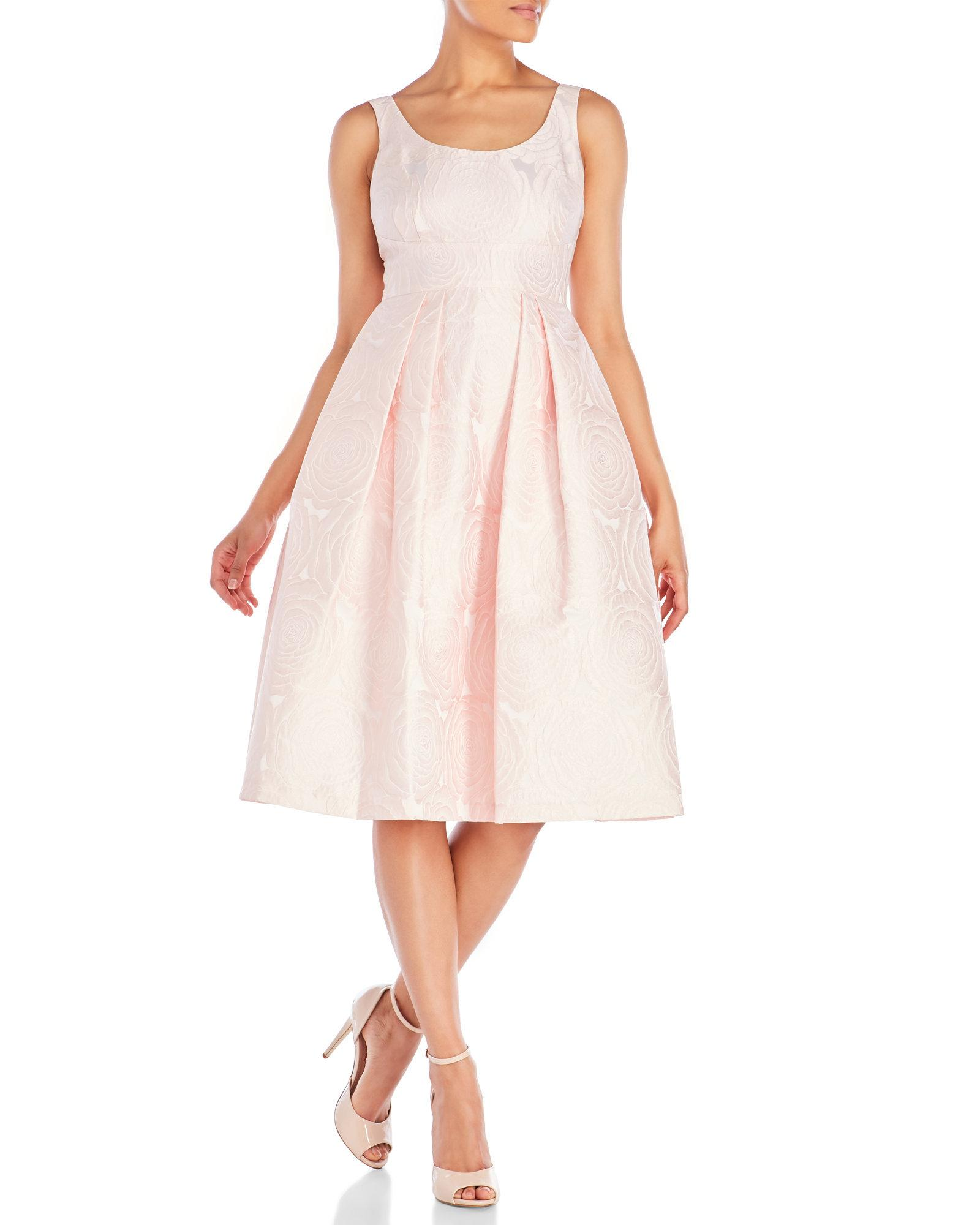 Ivanka Trump Synthetic Jacquard Party Dress In Blush Ivory