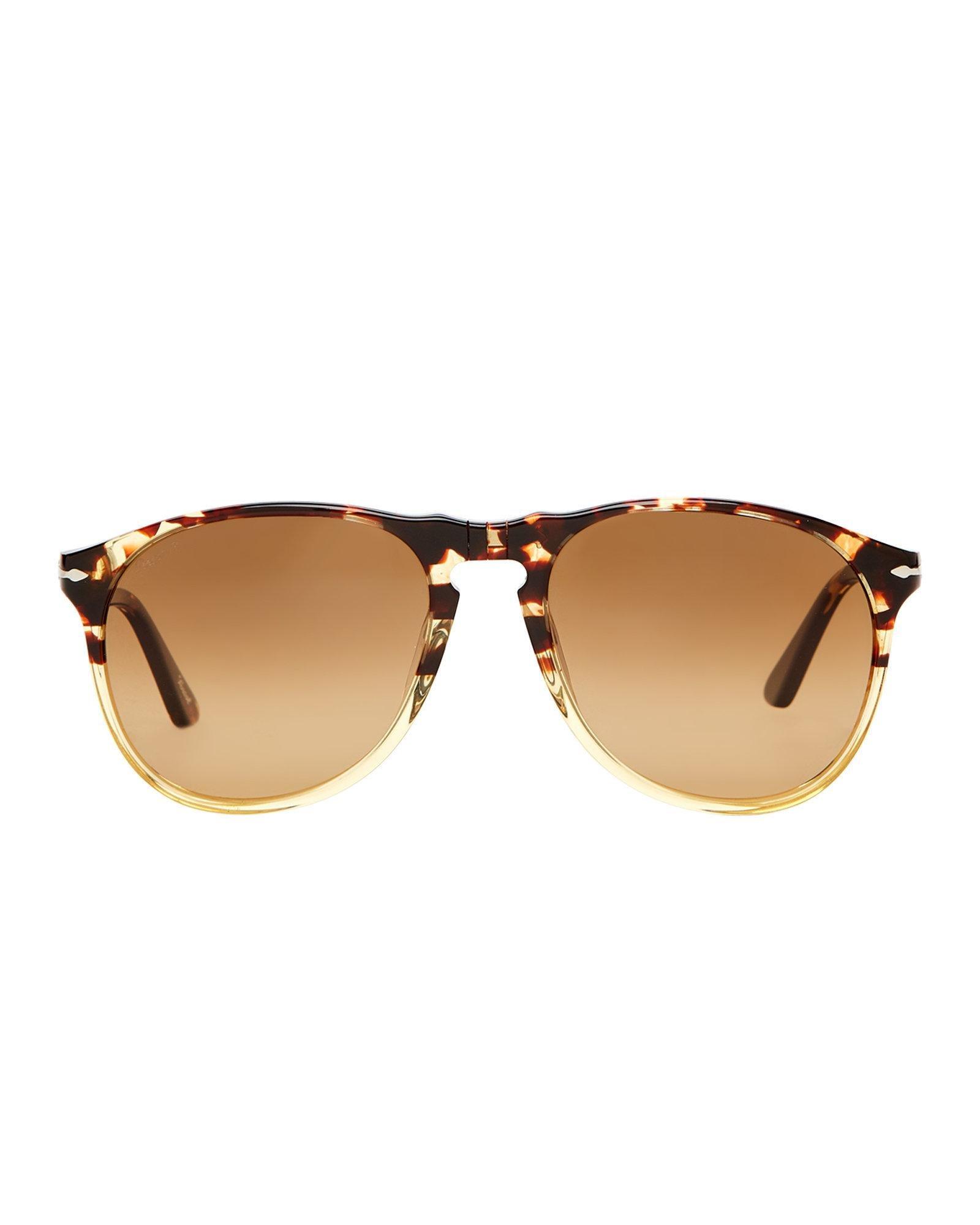 54d92b7bae Lyst - Persol Po9649 Ebano E Oro Round Polarized Sunglasses in Brown