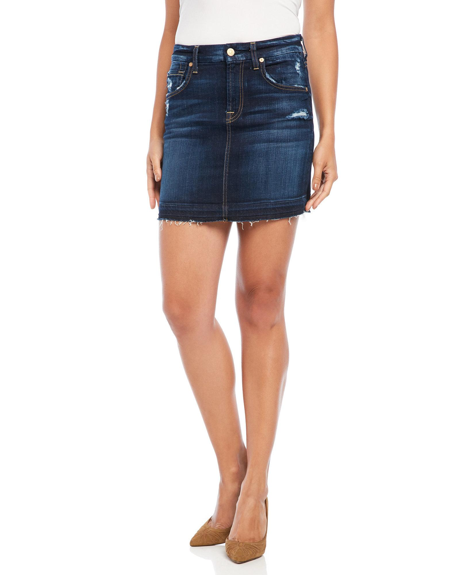 7 for all mankind frayed denim skirt in blue lyst