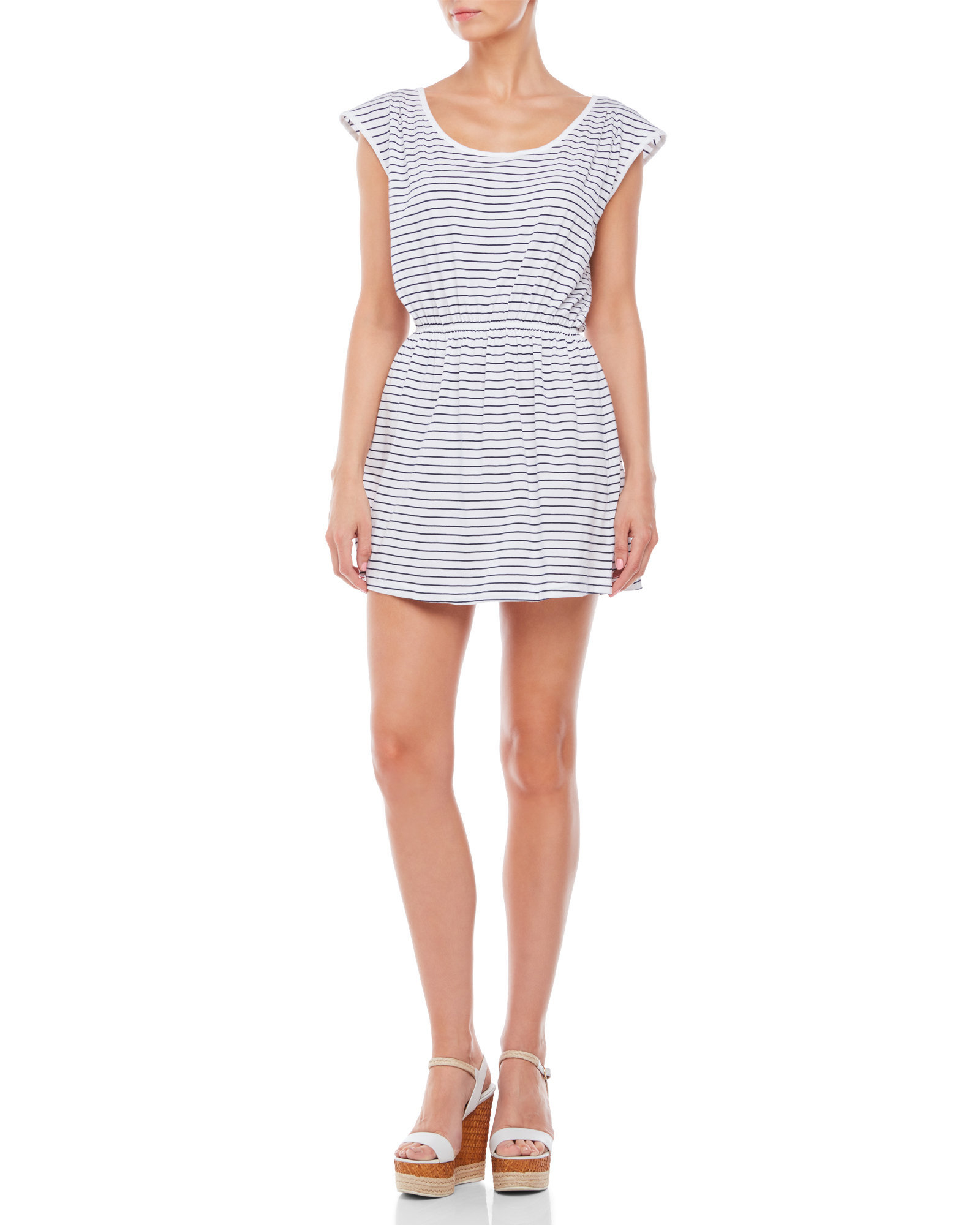 French Connection Material Girl Striped T Shirt Dress In