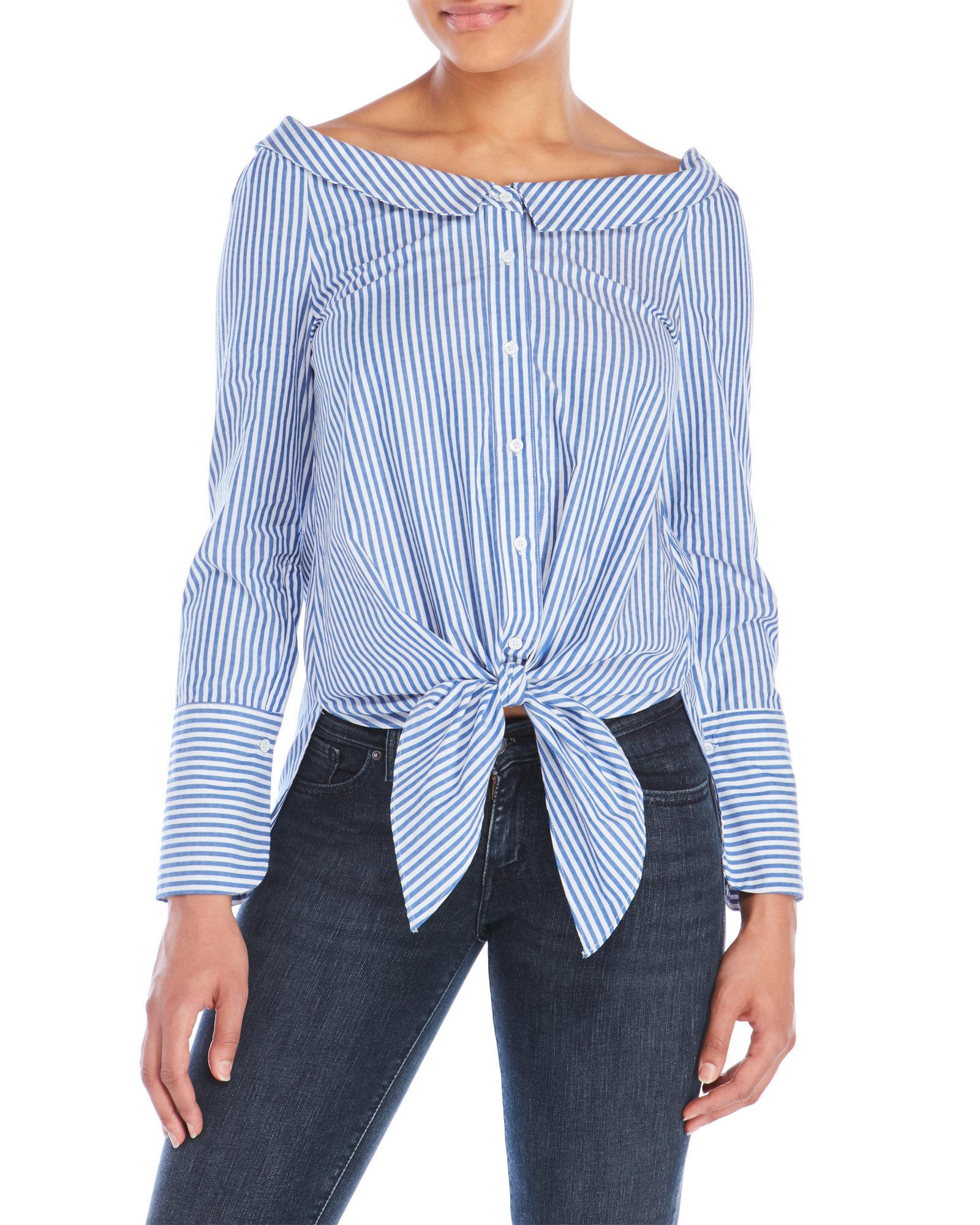 Do be collection striped tie front shirt in blue lyst for Blue striped shirt with tie