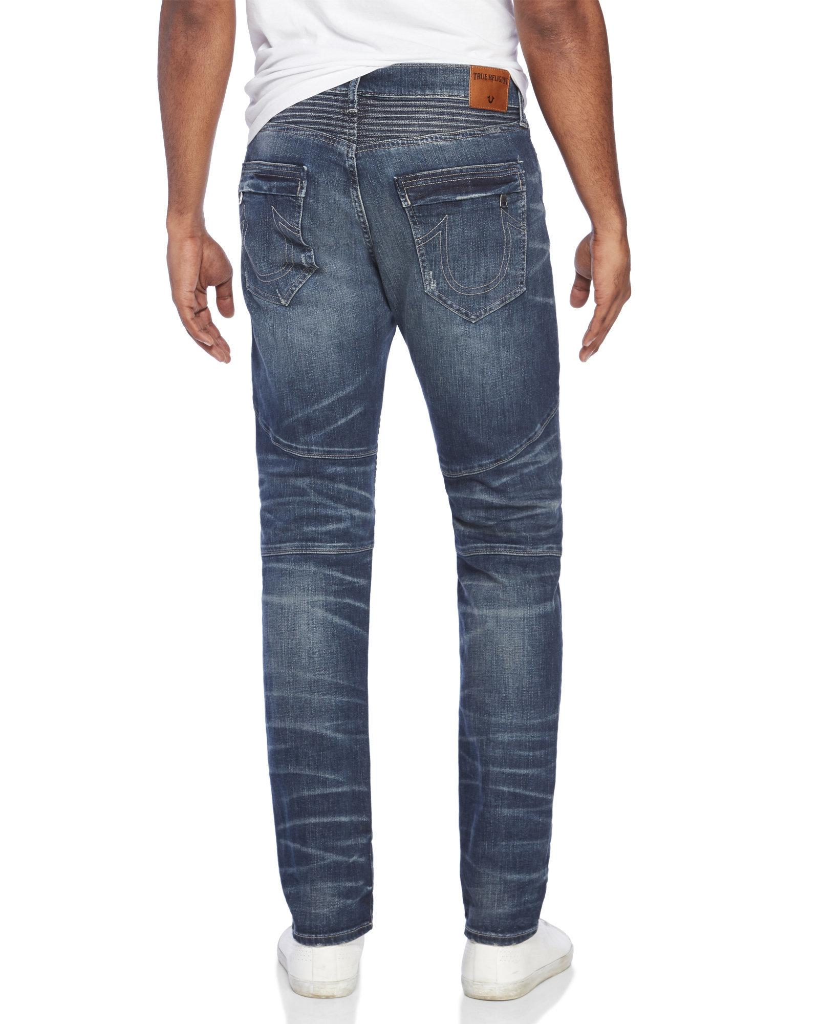 9343eb0b2 True religion Geno Relaxed Slim Fit Moto Jeans in Blue for Men
