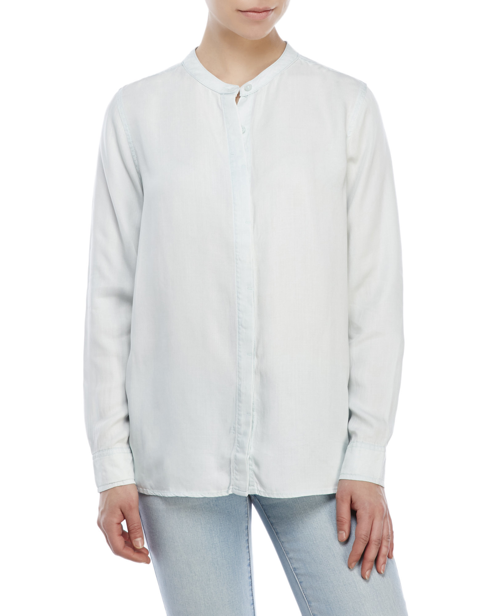 lyst century 21 mandarin collar button up shirt