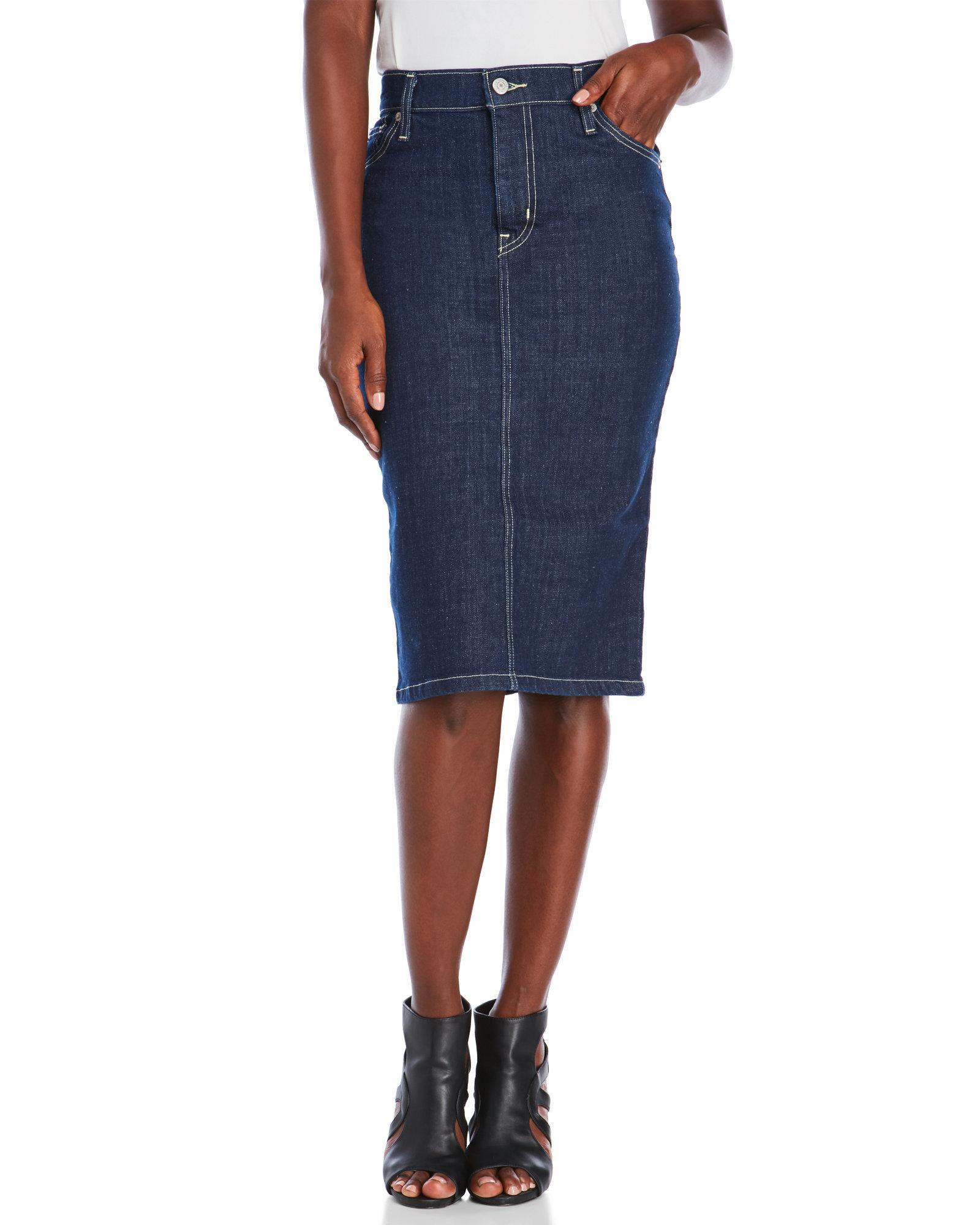 levi s denim pencil skirt in blue lyst