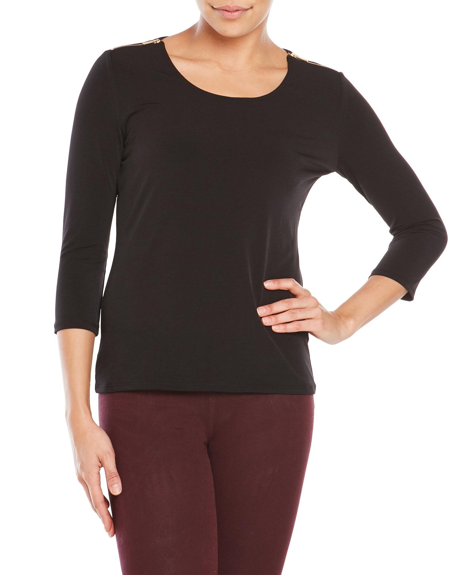 Premise Studio Top With Zippered Shoulders In Black Lyst