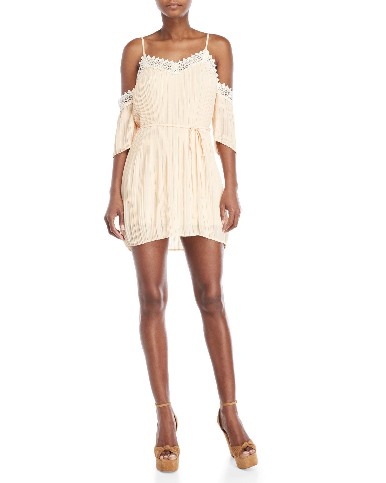 be8673a35feb03 Lyst - Romeo and Juliet Couture Pleated Cold Shoulder Lace Trim ...