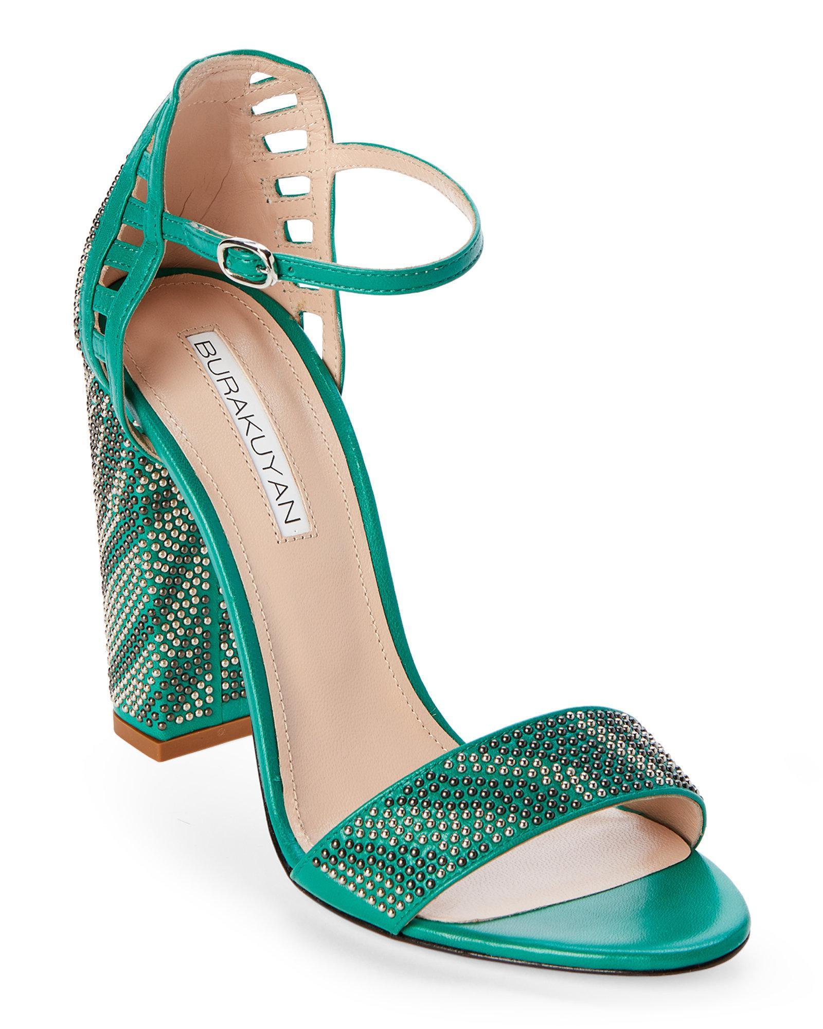 c7236e10fcc Lyst - Burak Uyan Green Studded Block Heel Sandals in Green