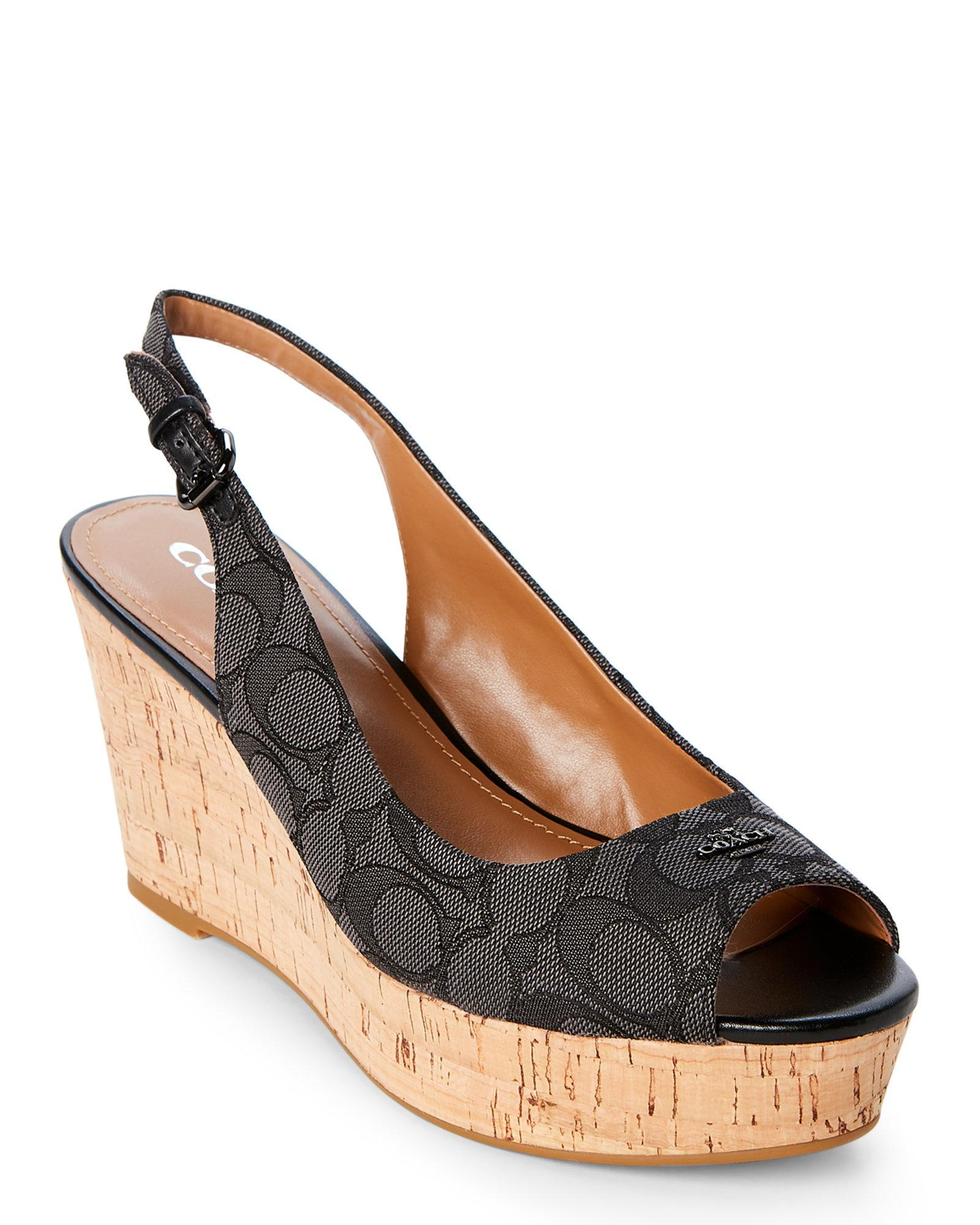 6fddcb12f31 best lyst coach black smoke ferry signature cork wedge sandals in black  5afea 408d6