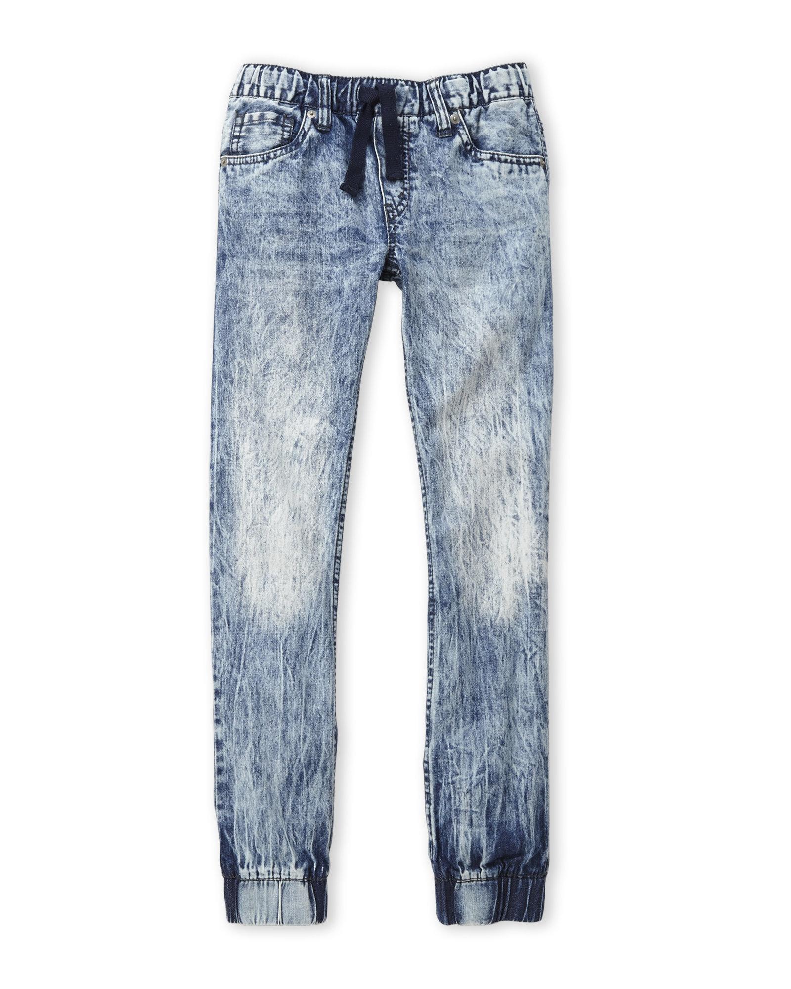 Greca Turn-up Acid Wash Jeans by Young Versace for Boys. Stretch cotton, acid wash jeans with Greca Key turn-up hems, and Young Versace Medusa button features.