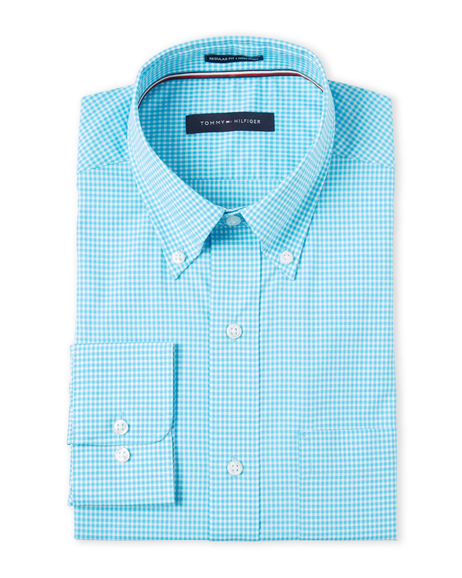 754e43edd Lyst - Tommy Hilfiger Aqua Mini Check Slim Fit Dress Shirt in Blue ...