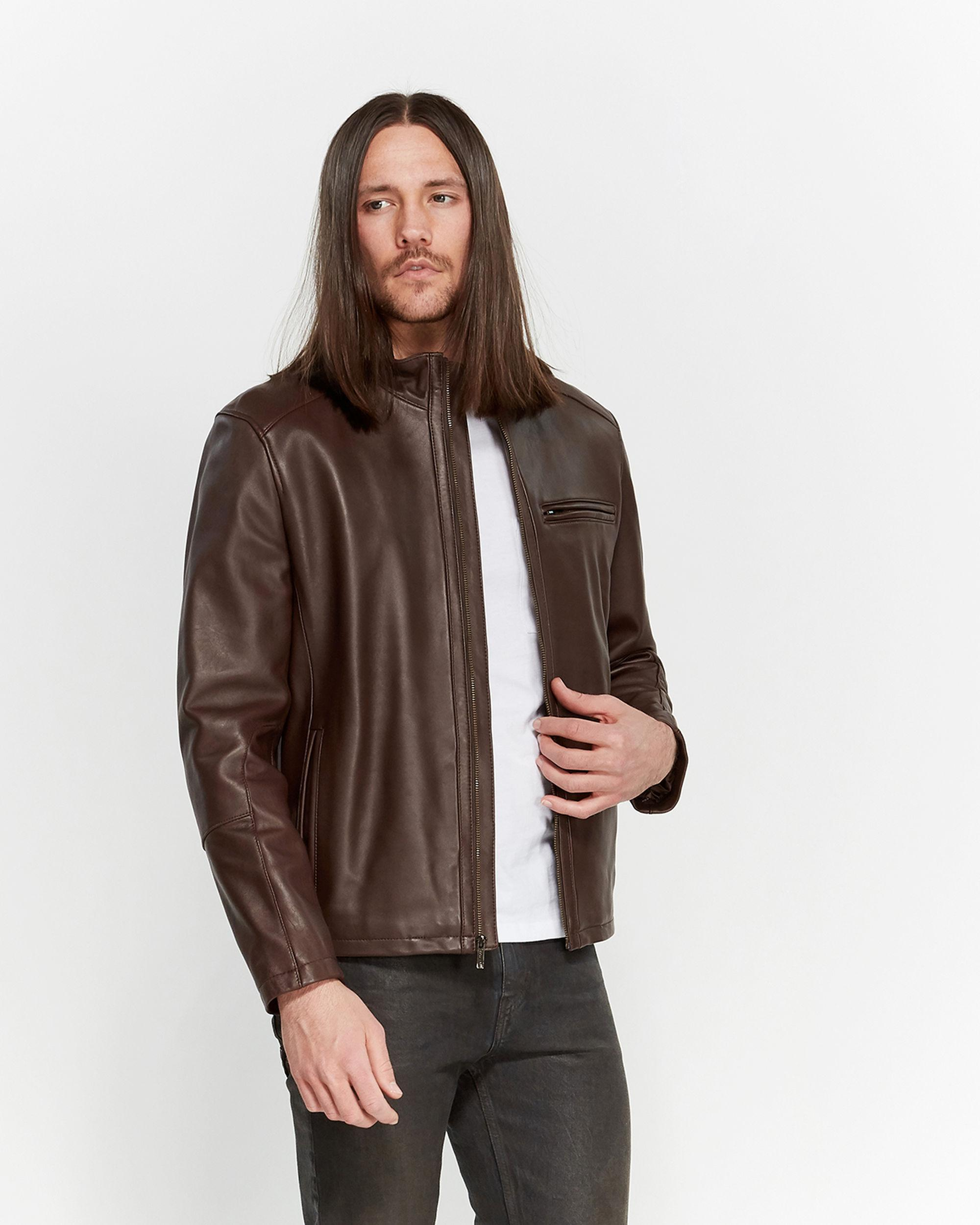 5d8633a2d0 Lyst - Cole Haan Leather Zip Jacket in Brown for Men
