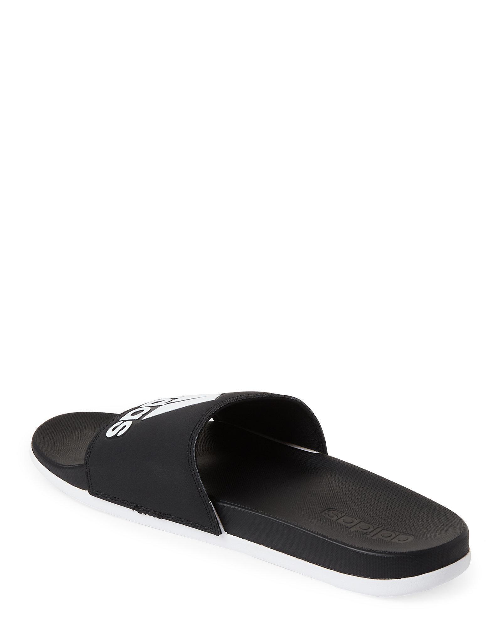 fe2ef441d69 Lyst - adidas Black   White Adilette Comfort Slide Sandals in Black