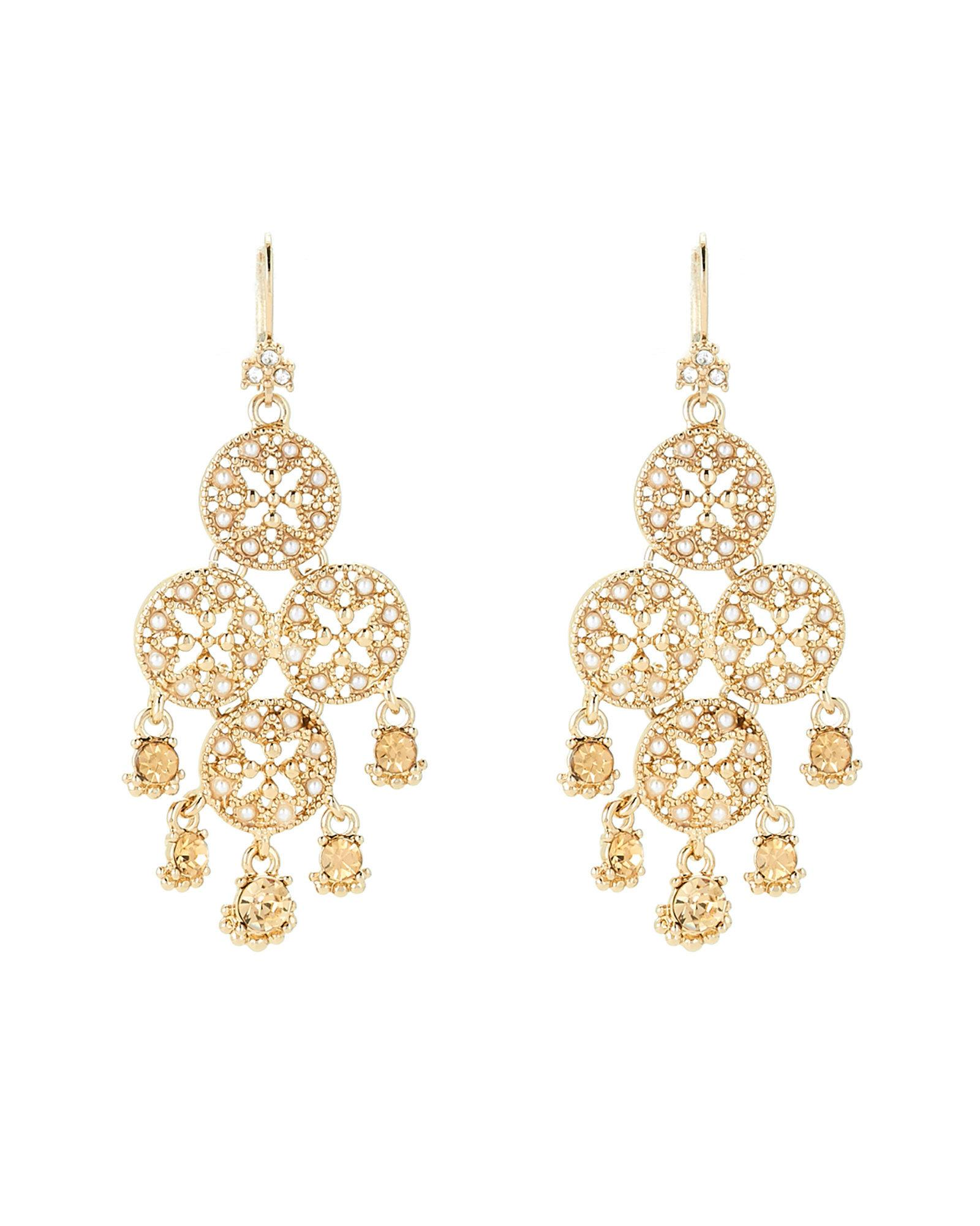 Lyst marchesa gold tone faux pearl chandelier earrings in metallic gallery arubaitofo Image collections