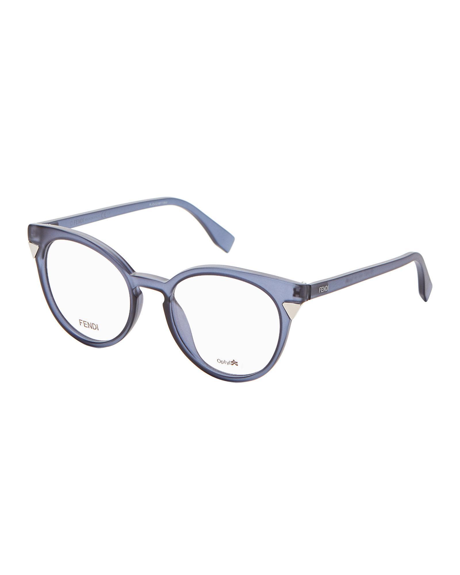 Lyst - Fendi Ff0127 Blue-grey Round Optical Frames in Blue