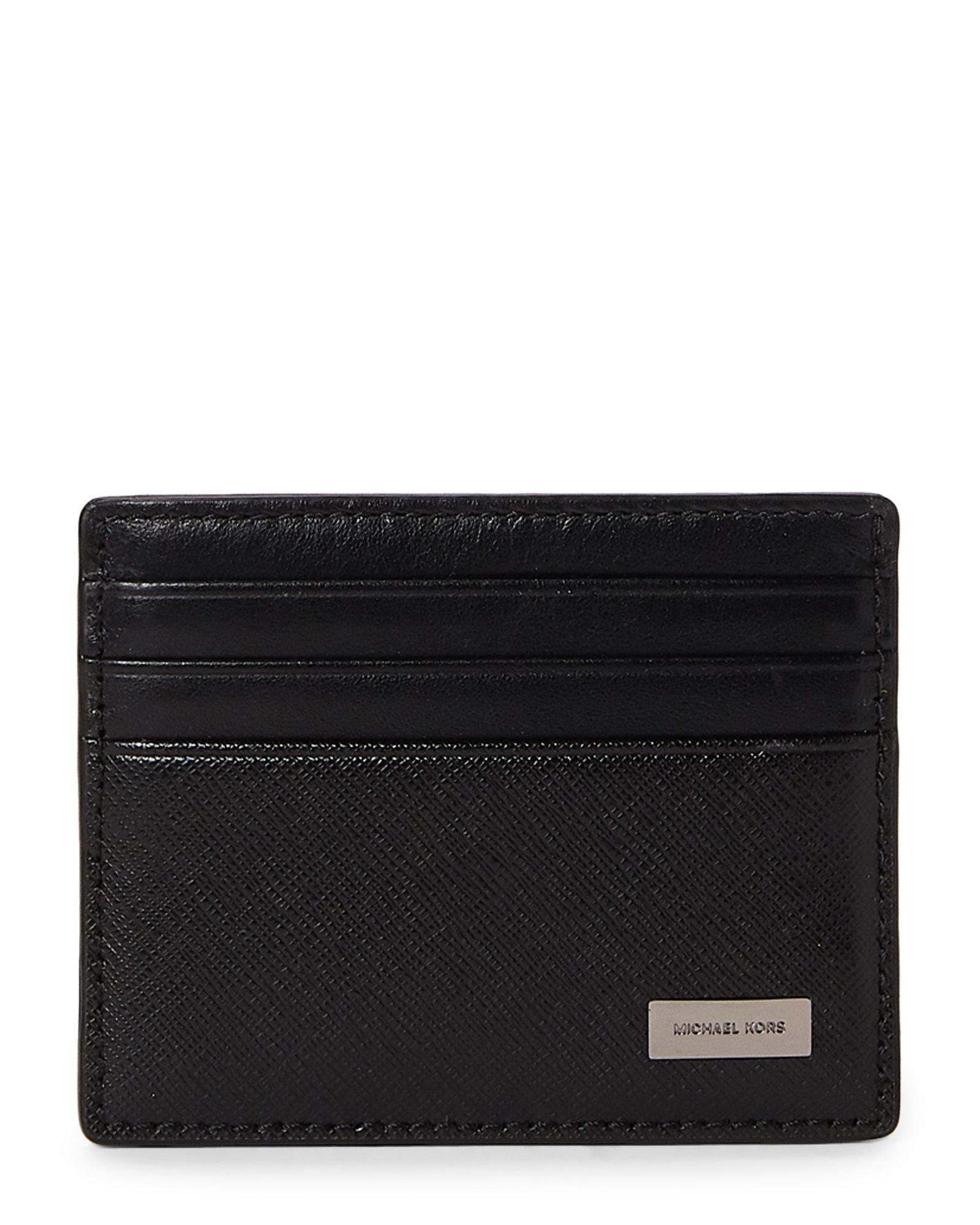 00332f7cd6805 Lyst - Michael Kors Black Leather Tall Card Case in Black for Men
