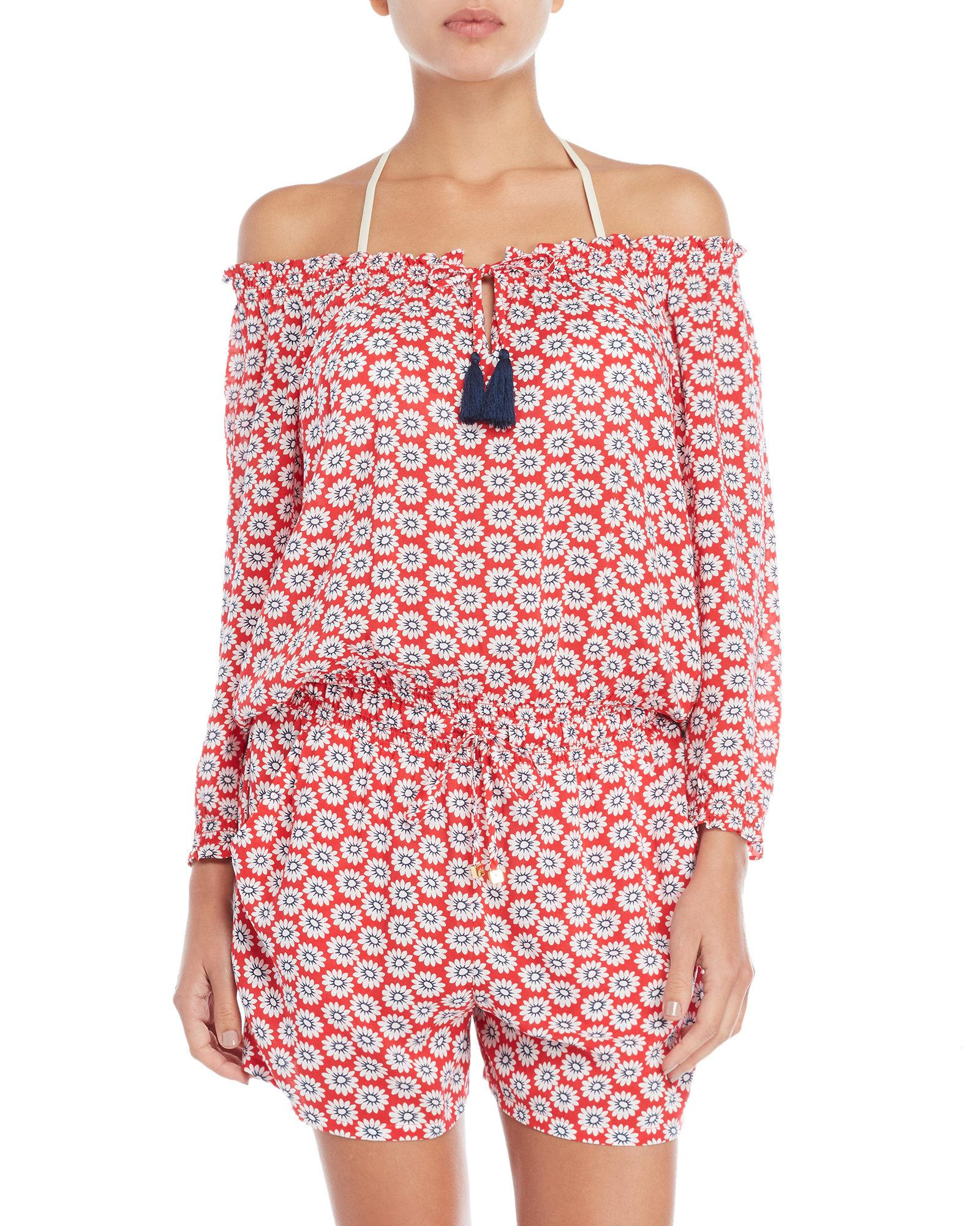 d4bff485904e Lyst - Tory Burch Prime Rose Cover-up Romper in Red