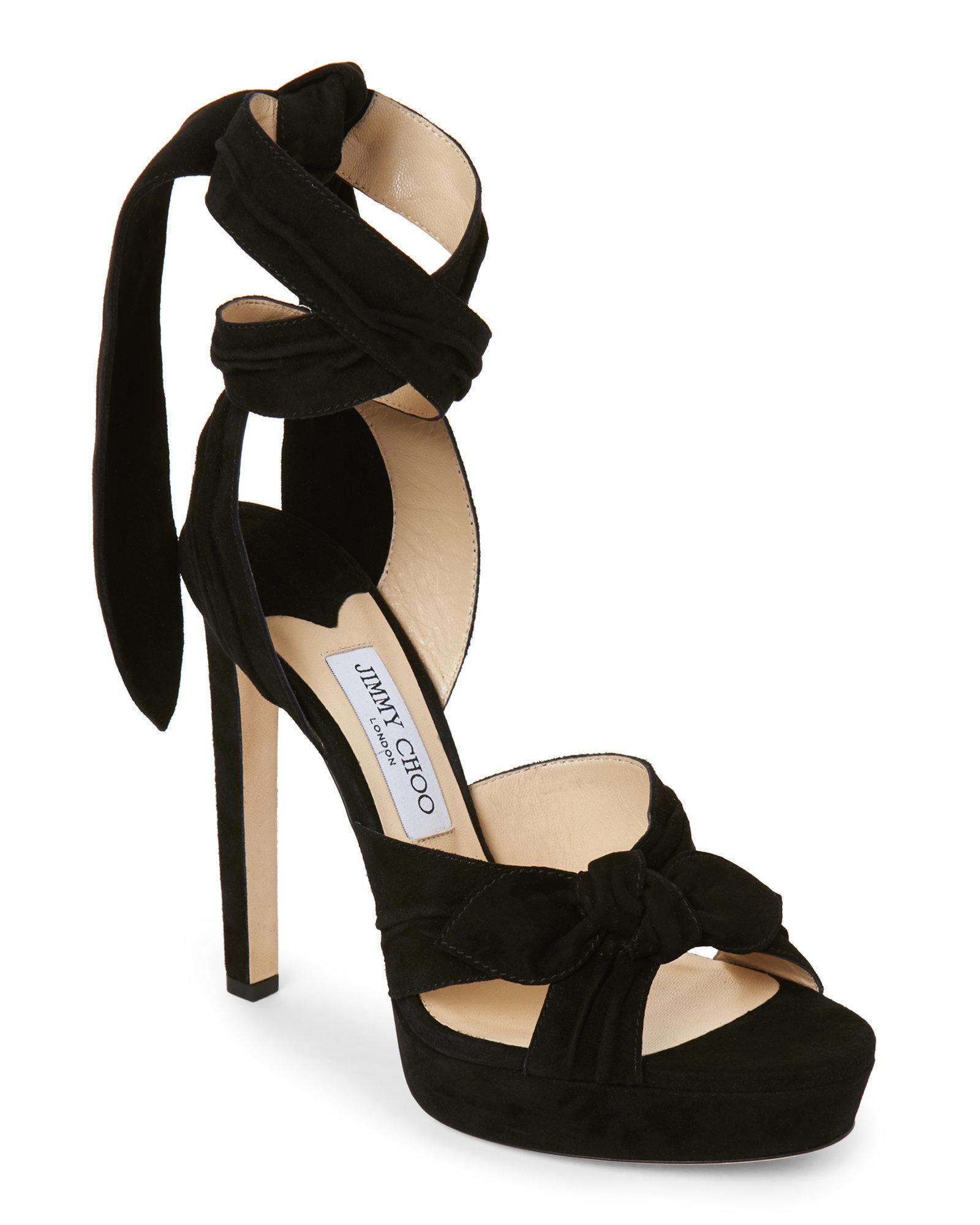 e78015b79c7 Lyst - Jimmy Choo Black Vixen Ankle Wrap Platform Sandals in Black