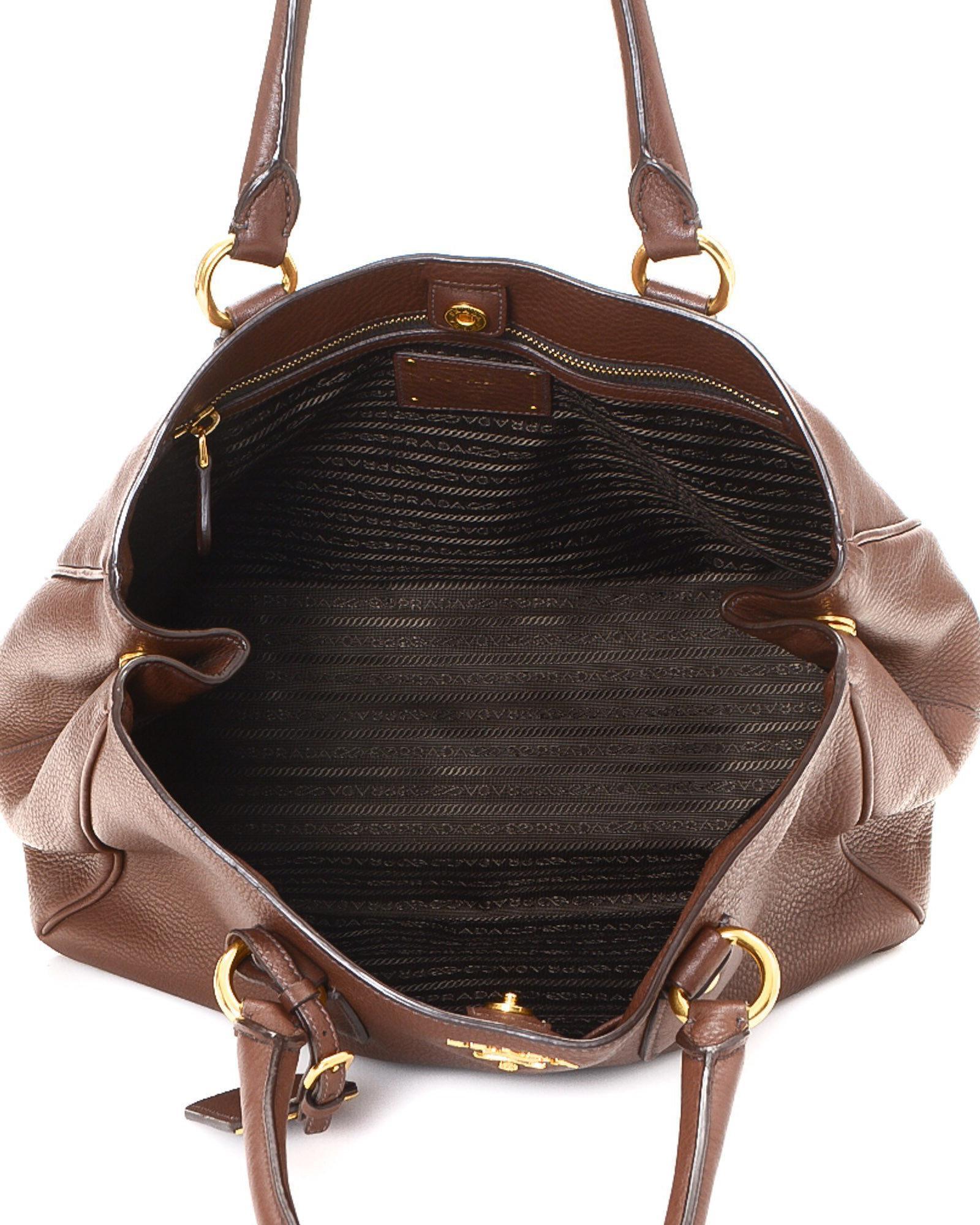 33a2e4af60fc ... wholesale lyst prada tote bag vintage in brown d1354 09850
