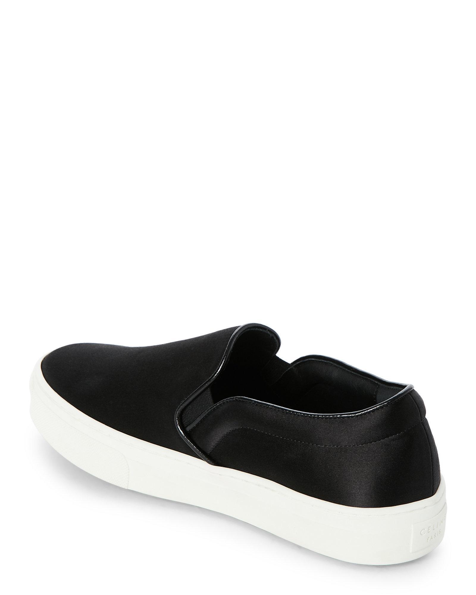 179066568f2c Lyst - Céline Black Satin Platform Slip On Sneakers in Black for Men