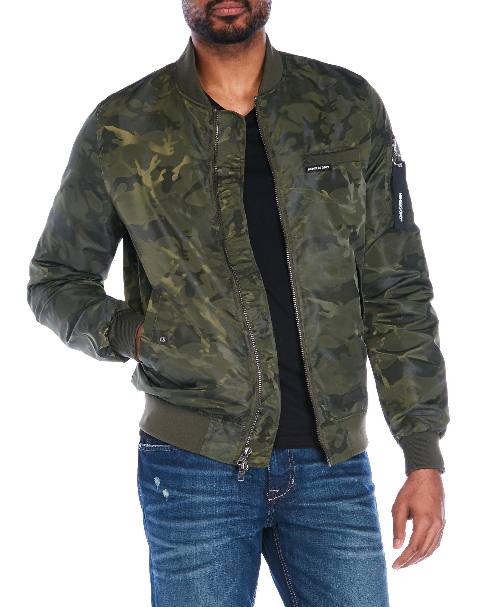 cba793421e9df Lyst - Members Only Camouflage Jacquard Bomber Jacket in Green for Men