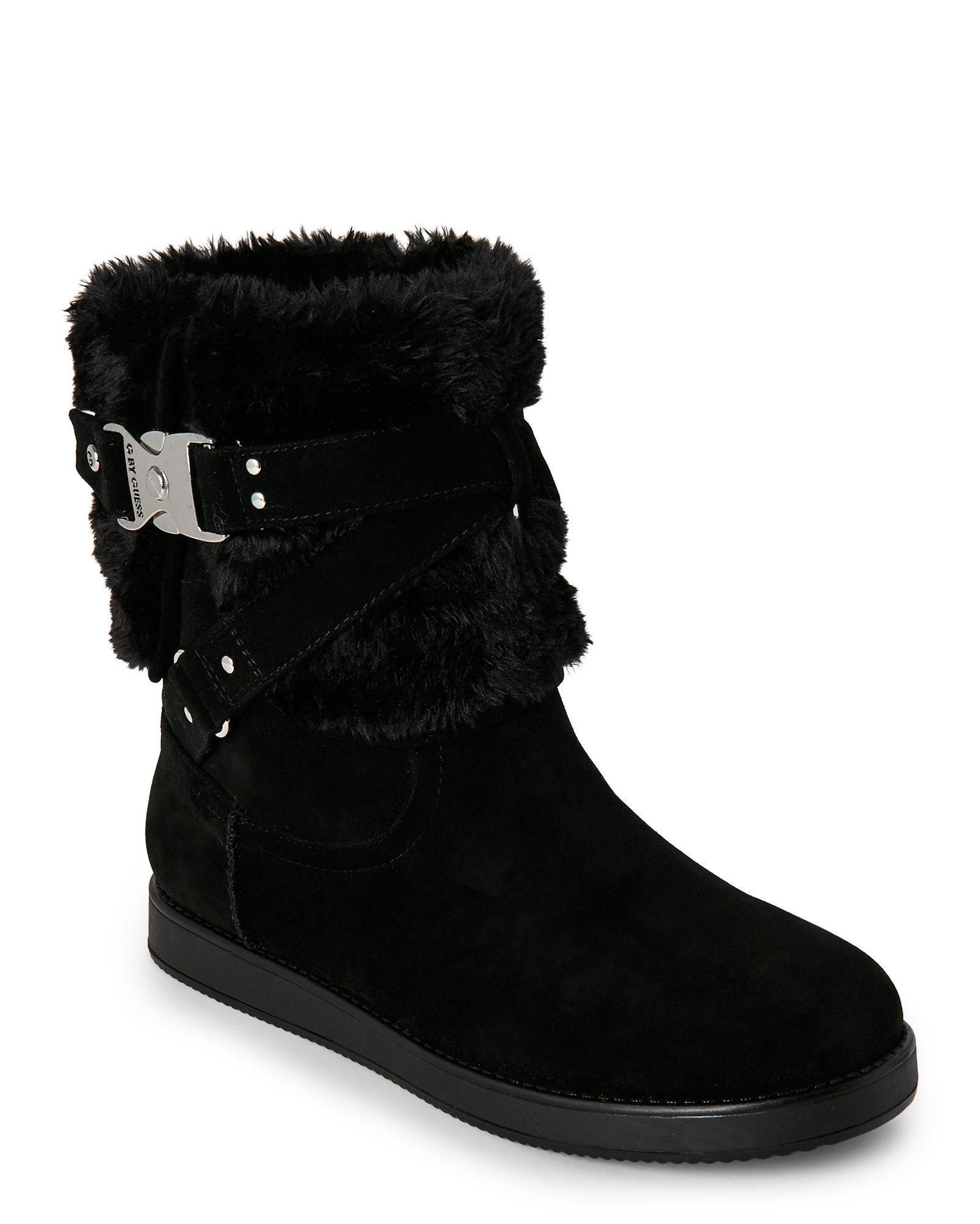 Lyst G By Guess Black Ashlee Buckled Faux Fur Boots In Black