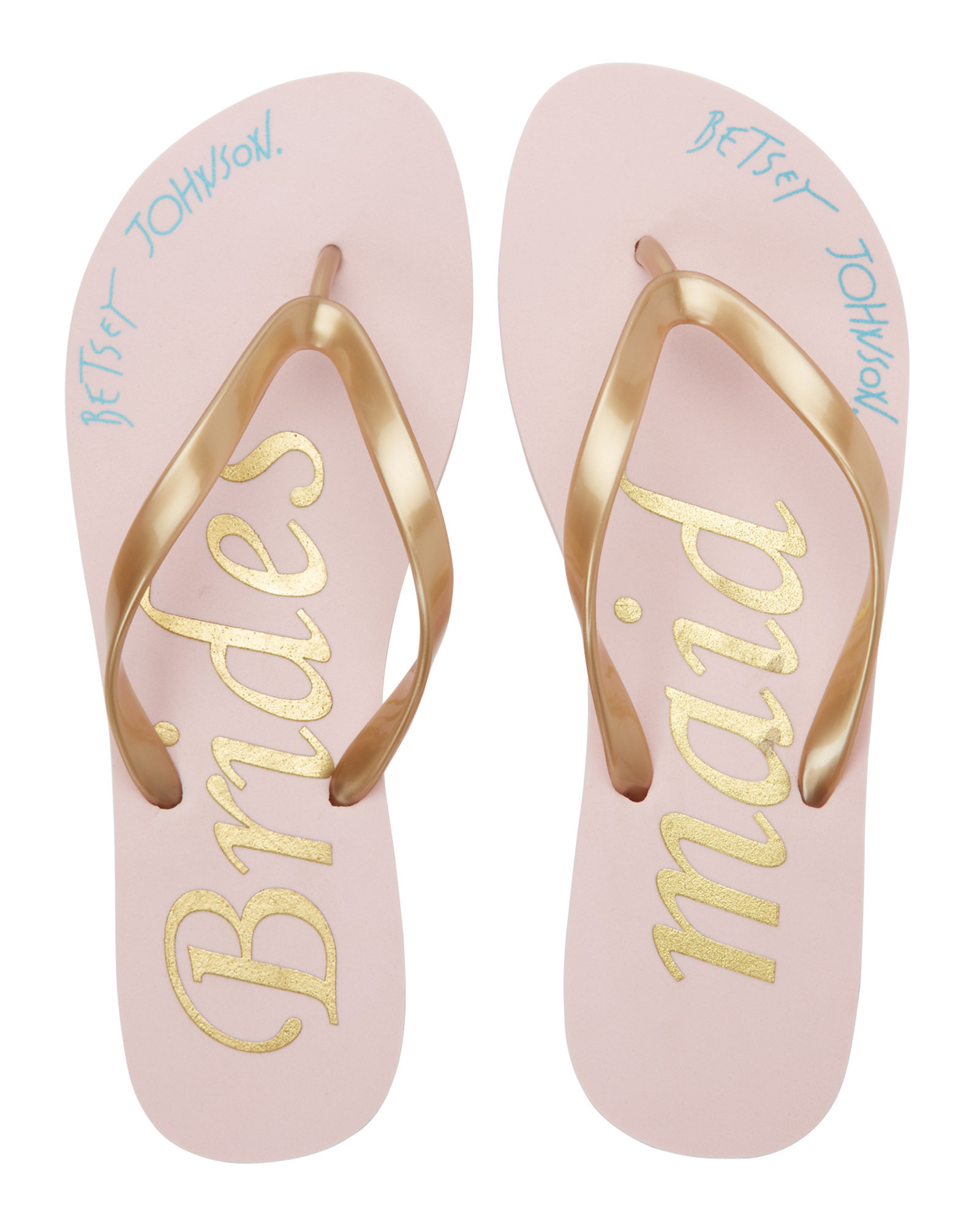 2e30a9f9628cae Lyst - Betsey Johnson Pink   Gold Bridesmaid Flip Flops in Pink
