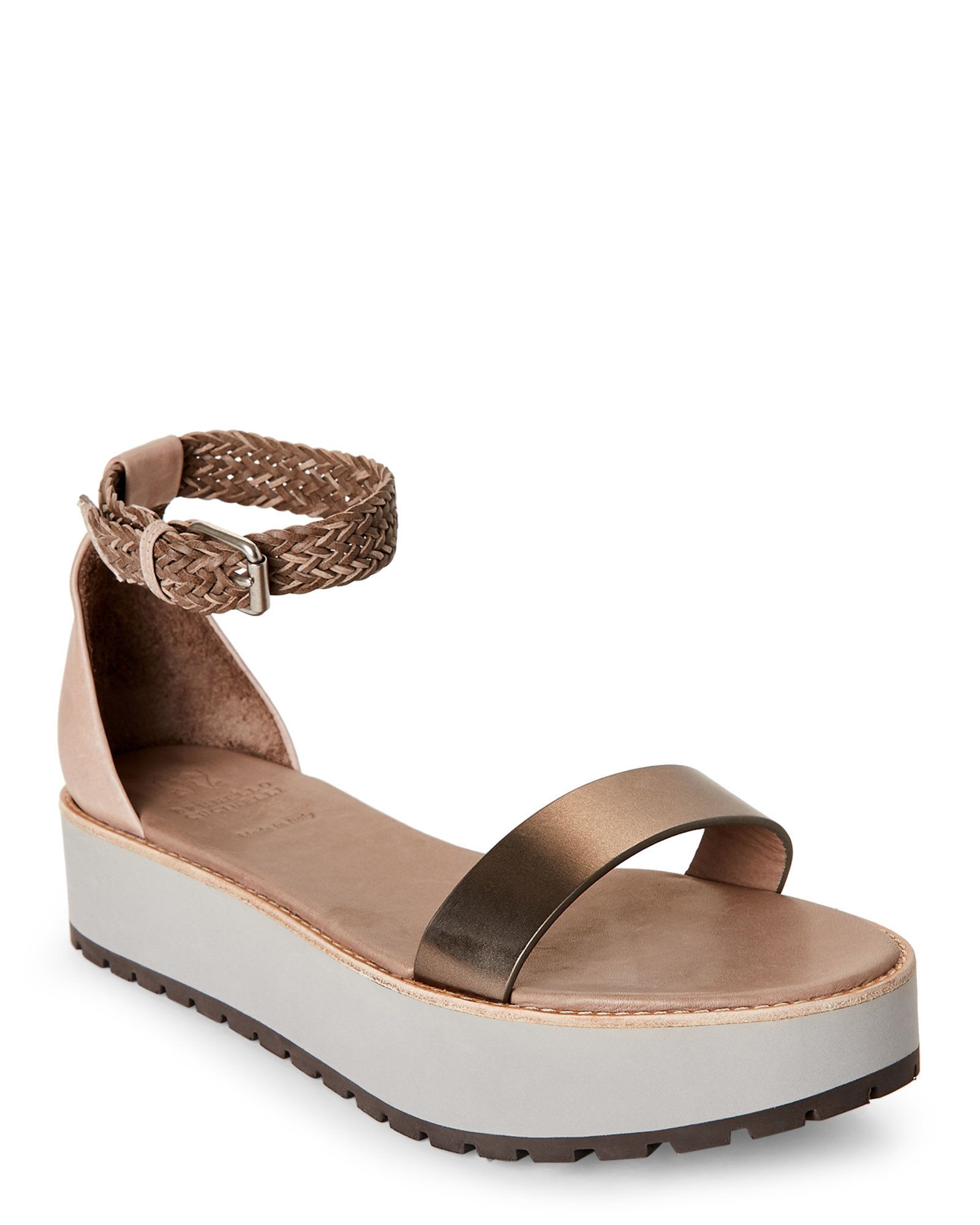 brunello cucinelli pewter two platform sandals in