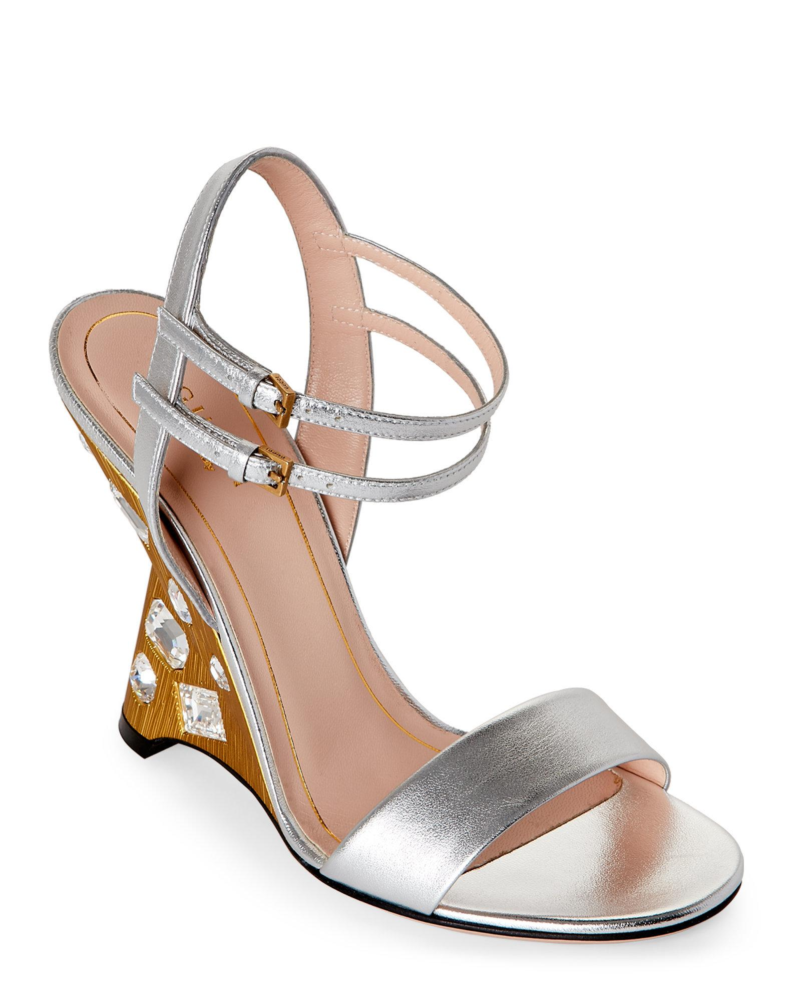 gucci silver engel jeweled leather wedge sandals in