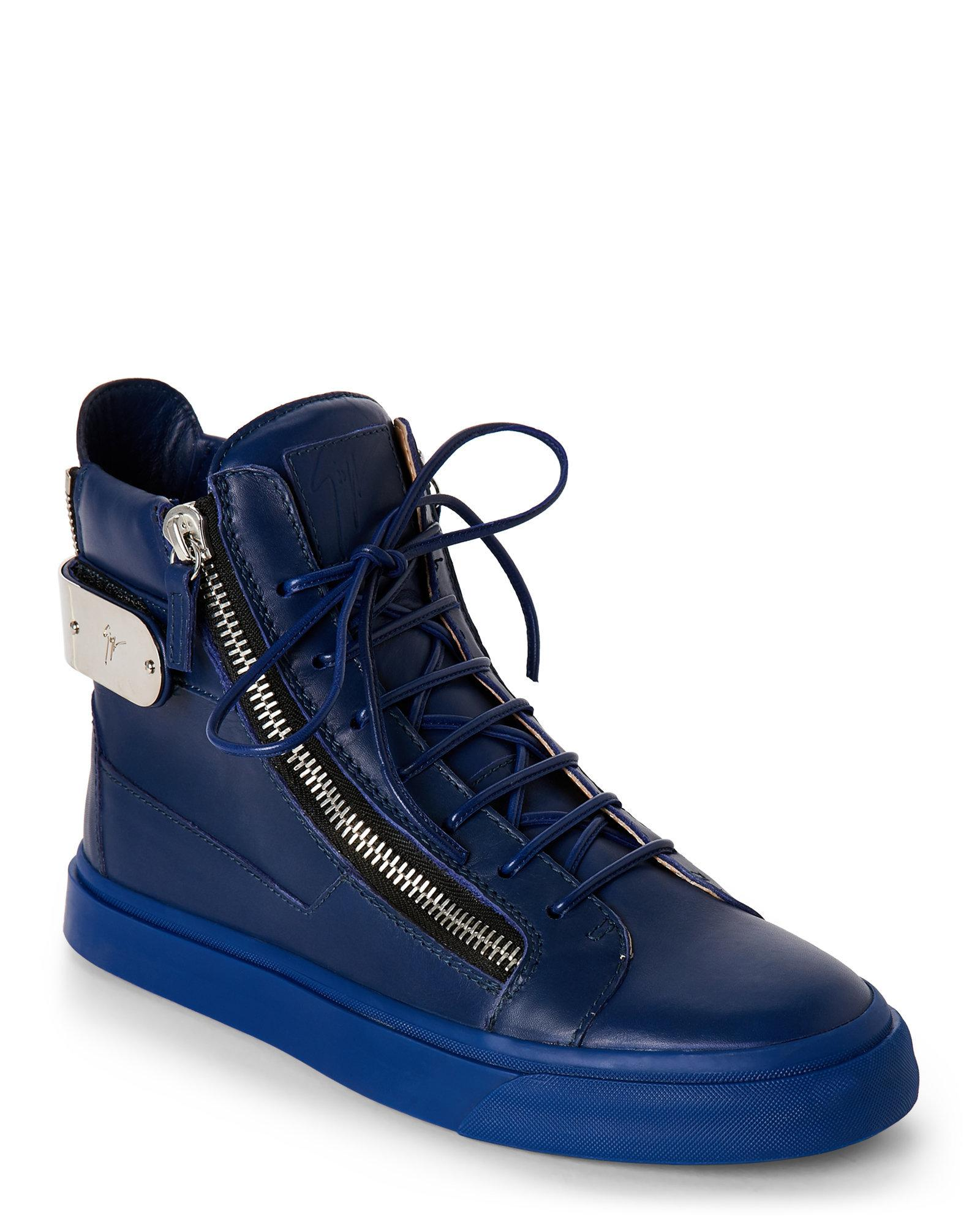 Giuseppe Zanotti London High Top Sneakers In Blue