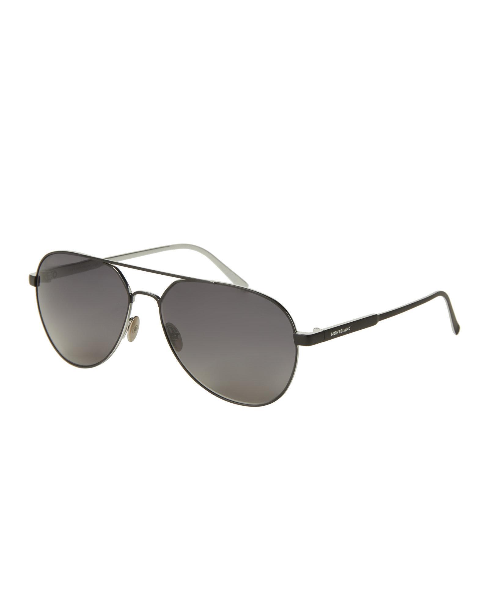 ff428fa037 Lyst - Montblanc Mb 644 s Black Aviator Sunglasses in Black for Men
