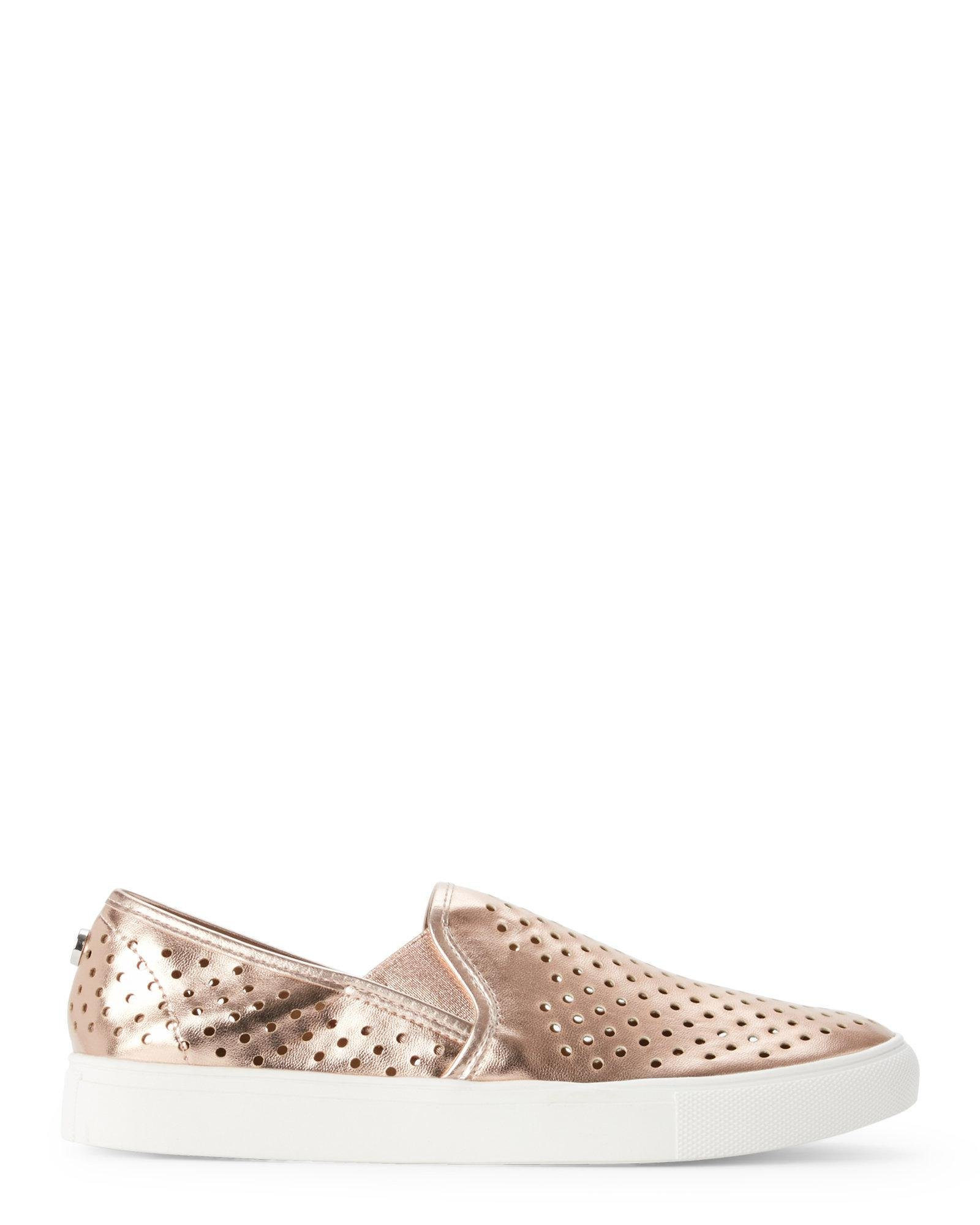 3eb027e32f4 Lyst - Steve Madden Rose Gold Owen Perforated Slip On Sneakers in Pink