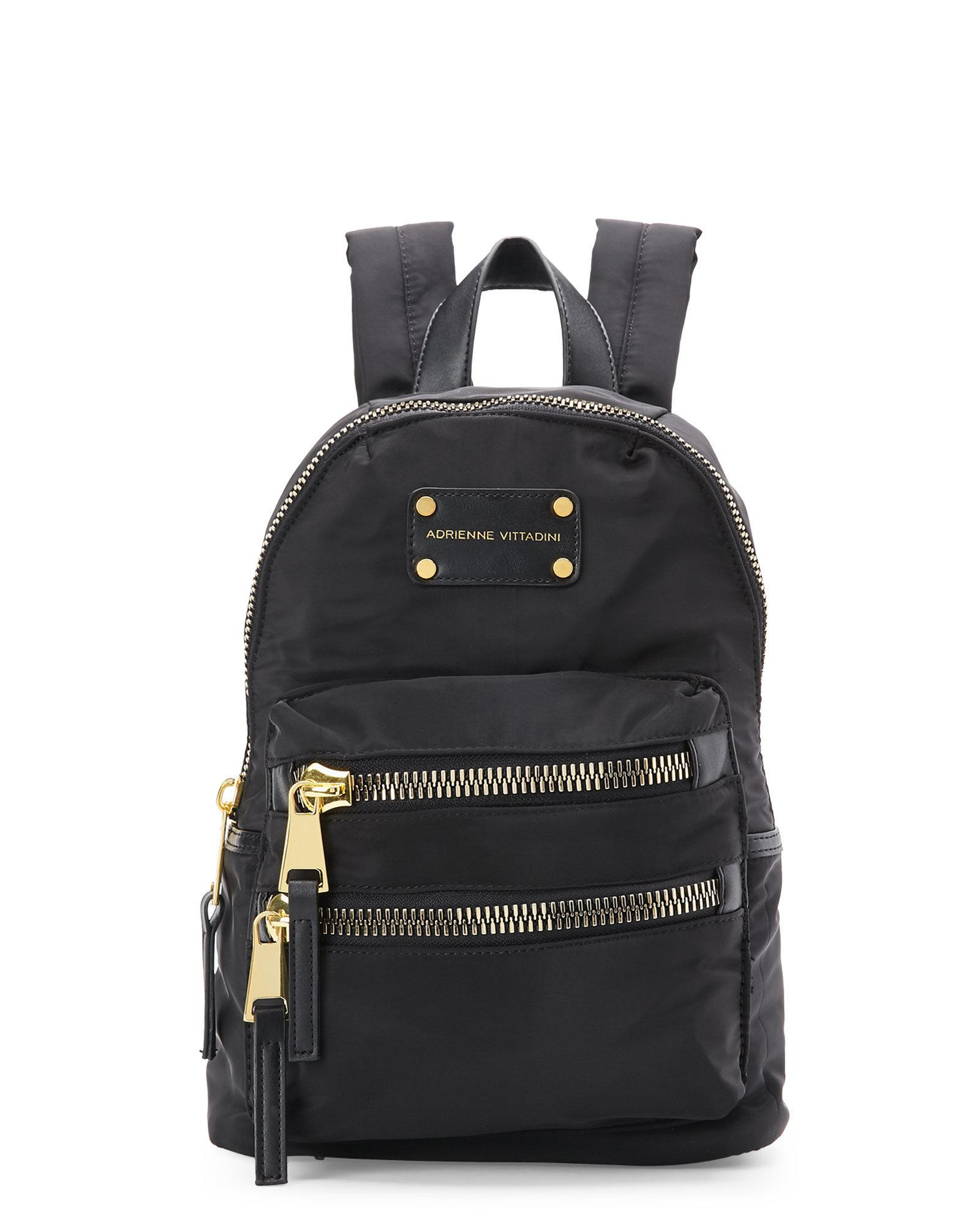 Adrienne vittadini Black & Gold Small Nylon Backpack in Black | Lyst
