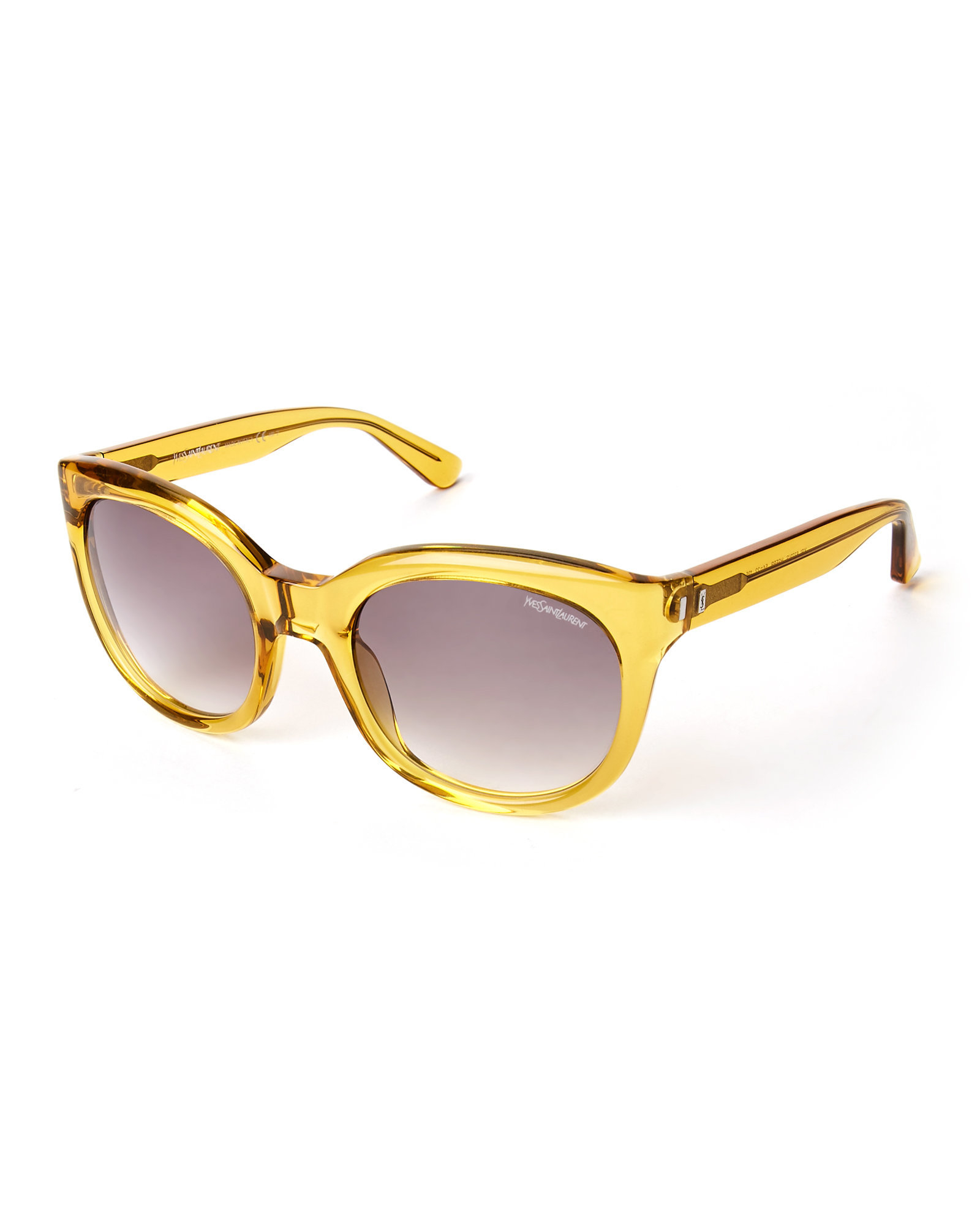 ed618cf1aa Lyst - Saint Laurent Yellow Ysl 6379 S Round Sunglasses in Metallic
