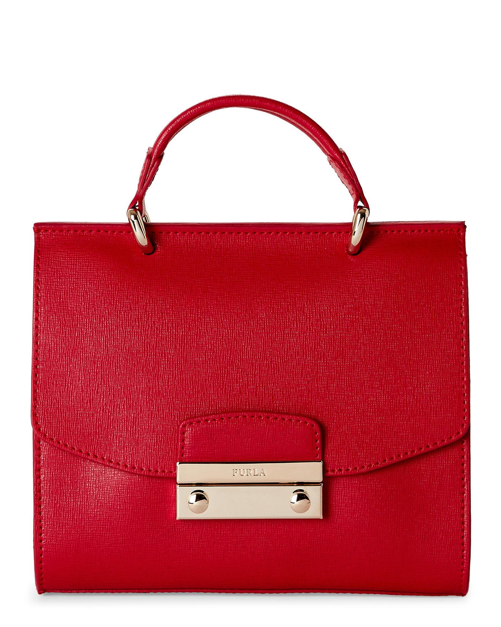 Furla Ruby Julia Mini Top Handle Satchel in Red