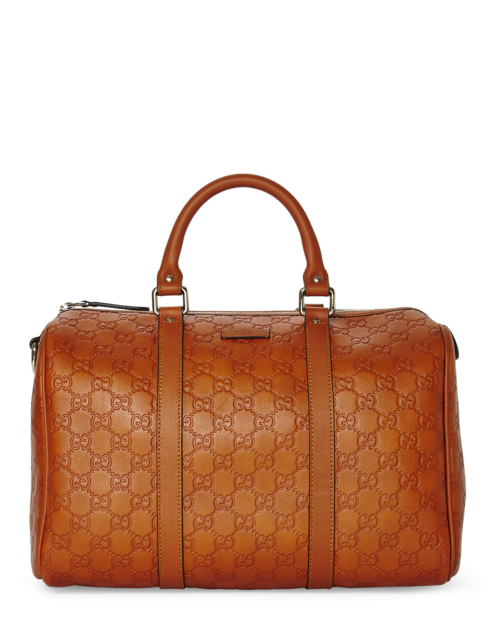 c3e15d5630aa Lyst - Gucci Orange Ssima Joy Boston Bag in Brown