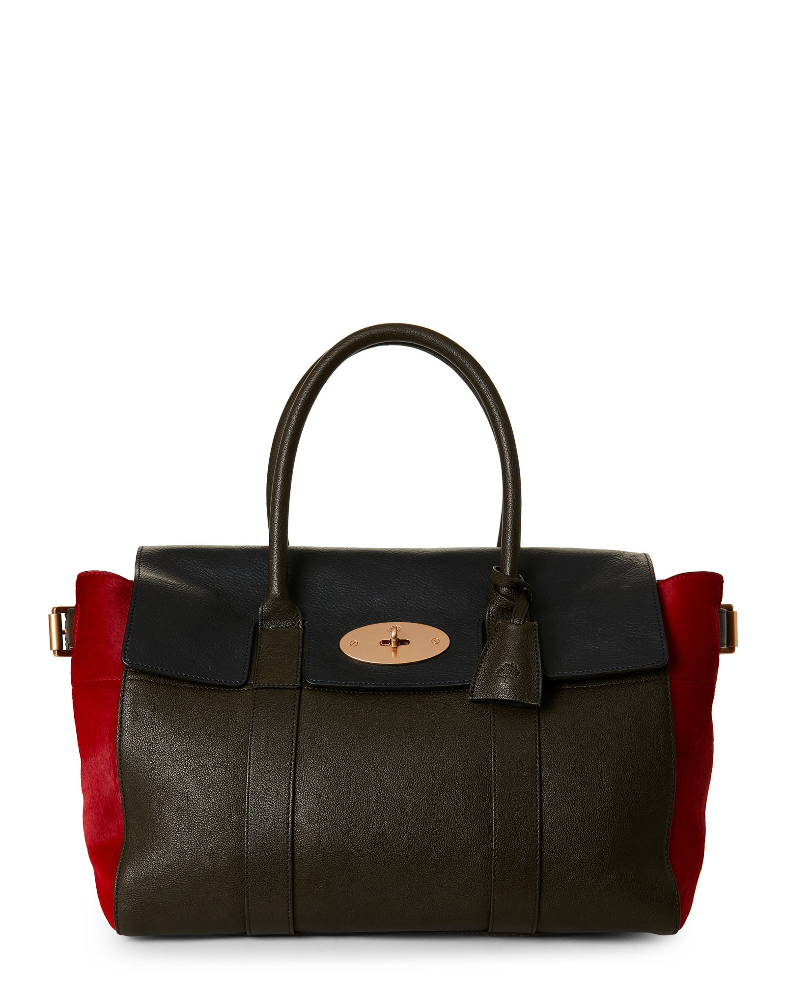3d7bc29a433f Lyst - Mulberry Bayswater Leather   Calf Hair Color Block Top Handle Bag