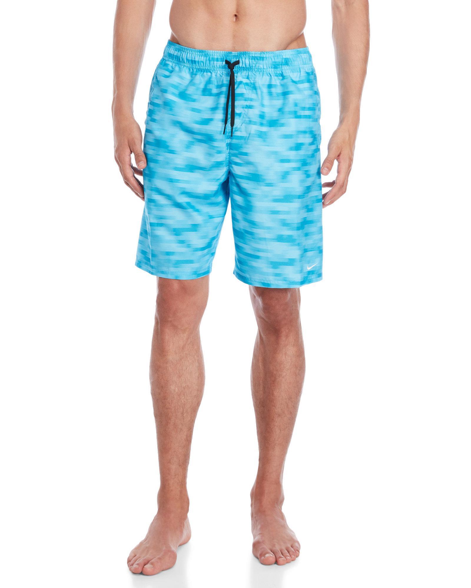 ede9ba407f Lyst - Nike Blurred Stripe Volley Swim Trunks in Blue for Men