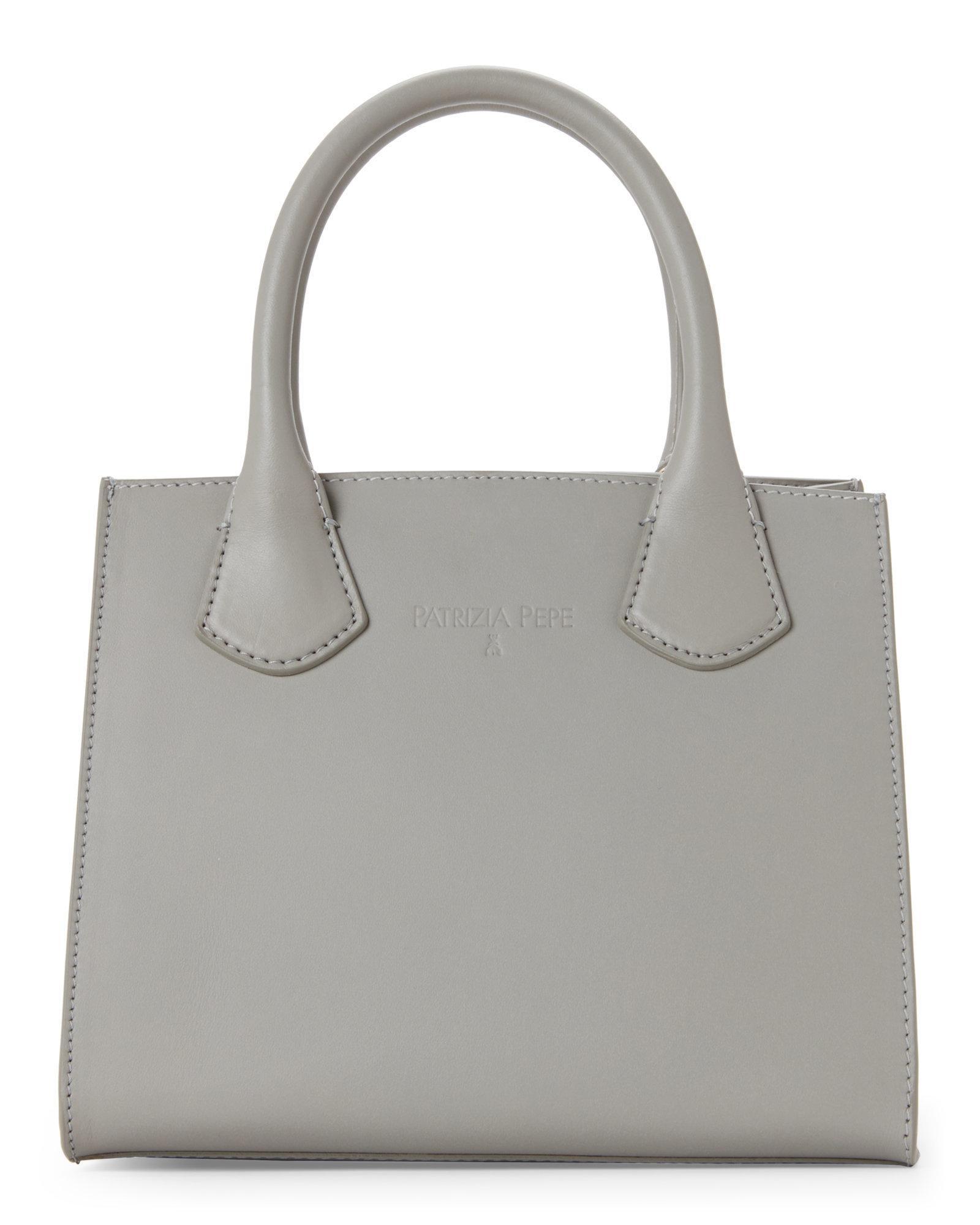 d2f21bd31b Patrizia Pepe Warm Grey Mini Leather Satchel in Gray - Lyst