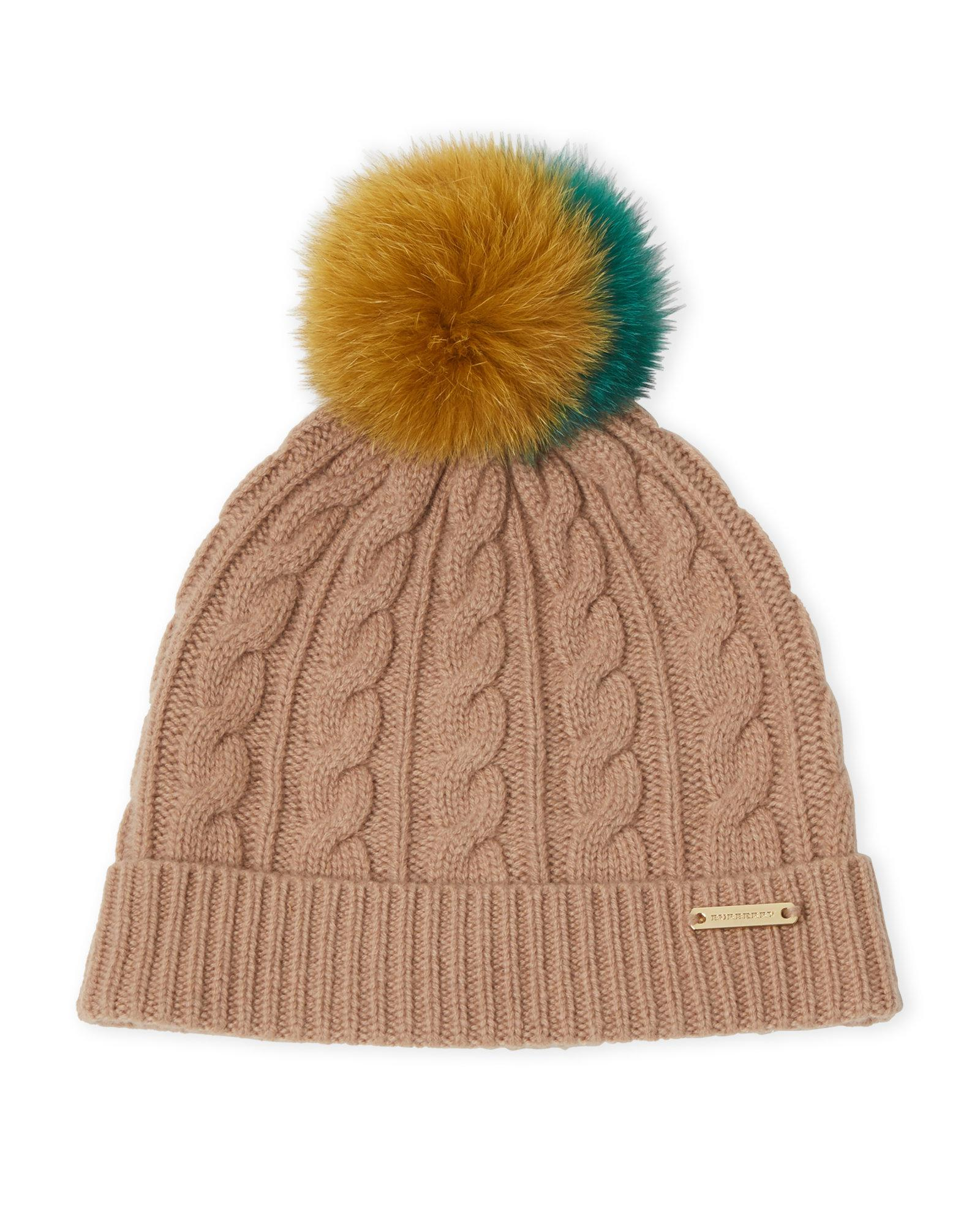 0b6f039bf3e Lyst - Burberry Camel Real Fur Pom-pom Beanie in Natural for Men