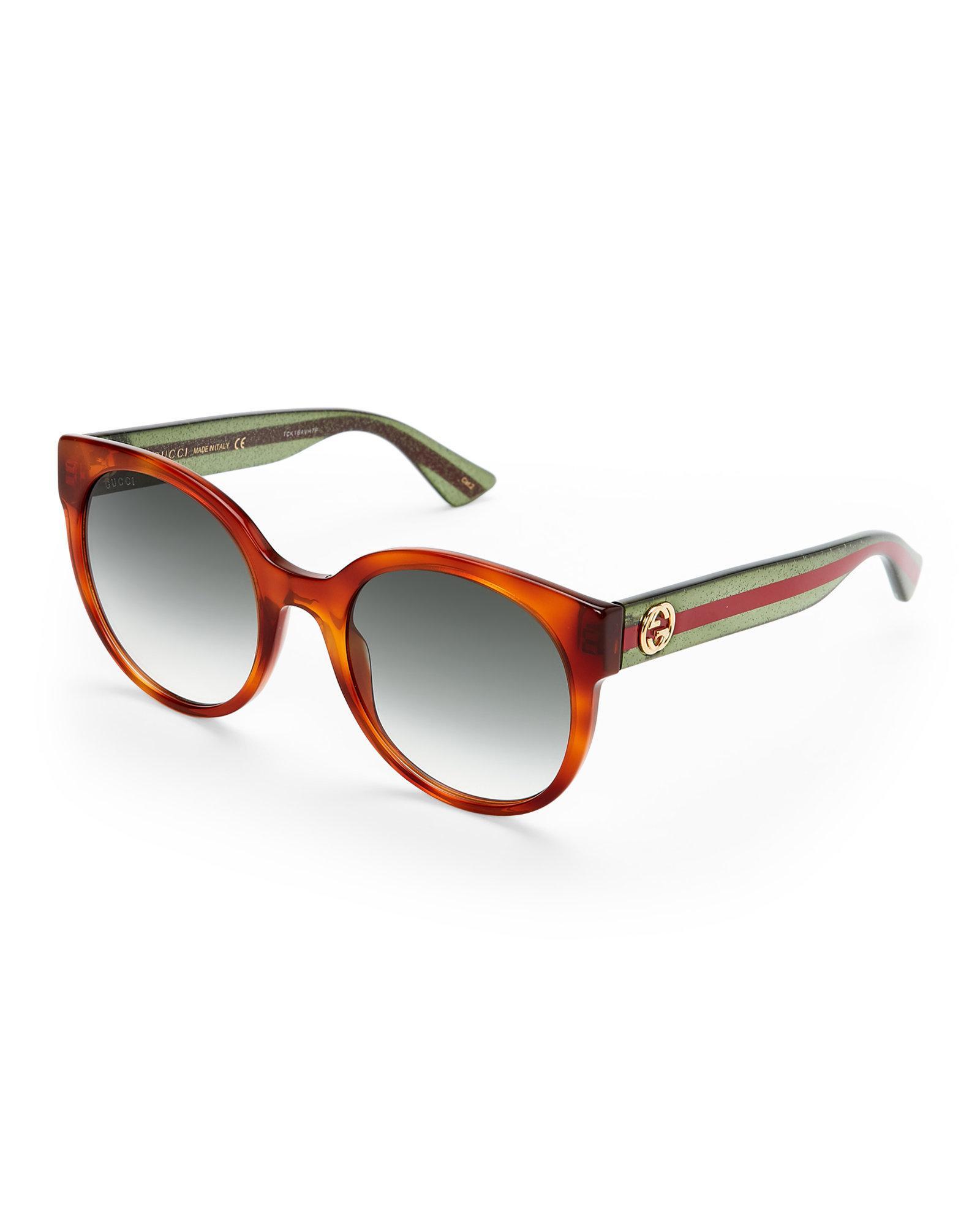 2526673dac8 Lyst - Gucci Gg 0035 S Havana Round Sunglasses in Brown