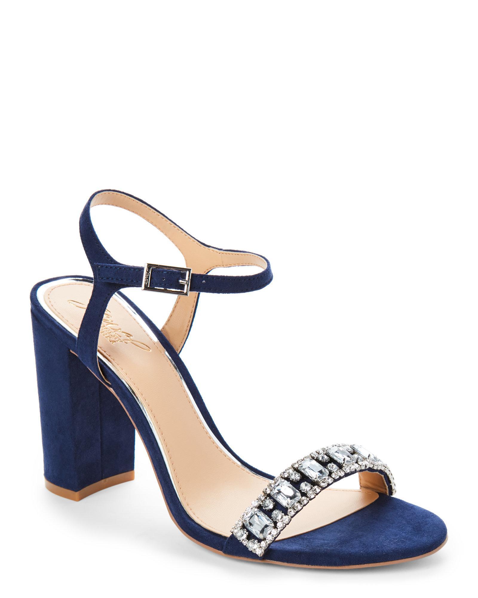 1fb68c57746 Lyst - Badgley Mischka Navy Hendricks Embellished Block Heel Sandals ...